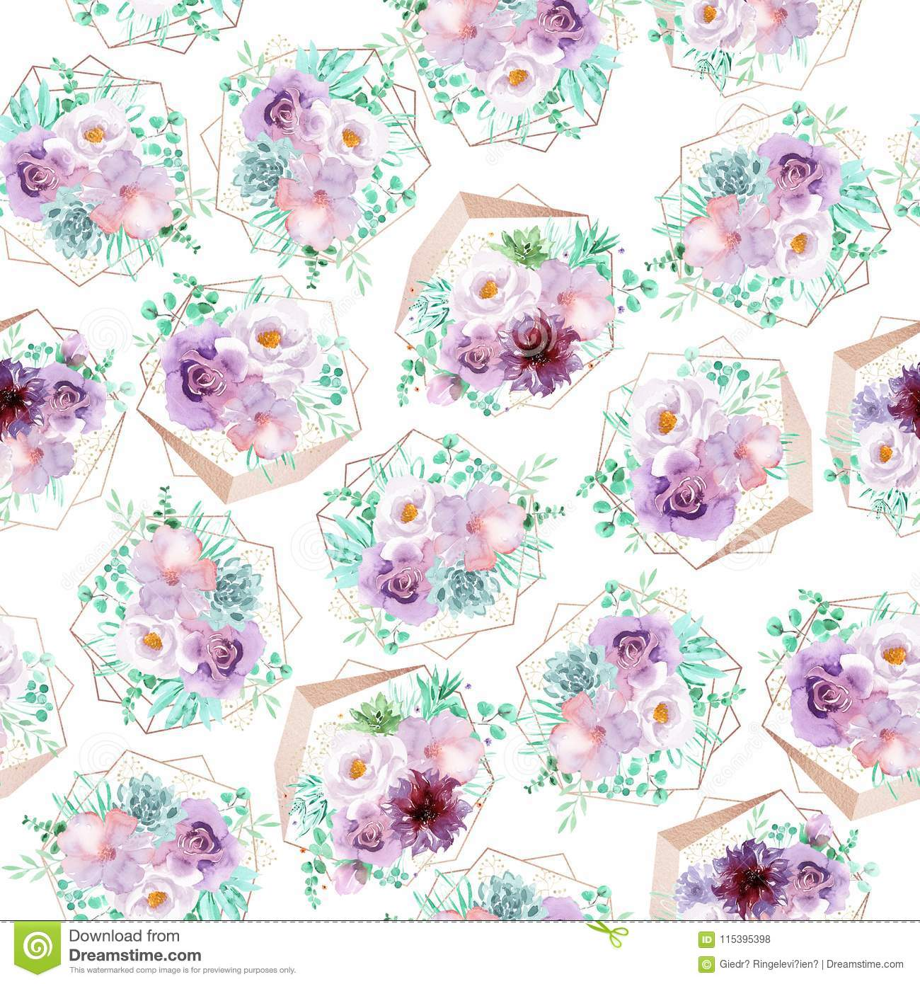 Watercolor Seamless Floral Background In Light Purple And Mint Green