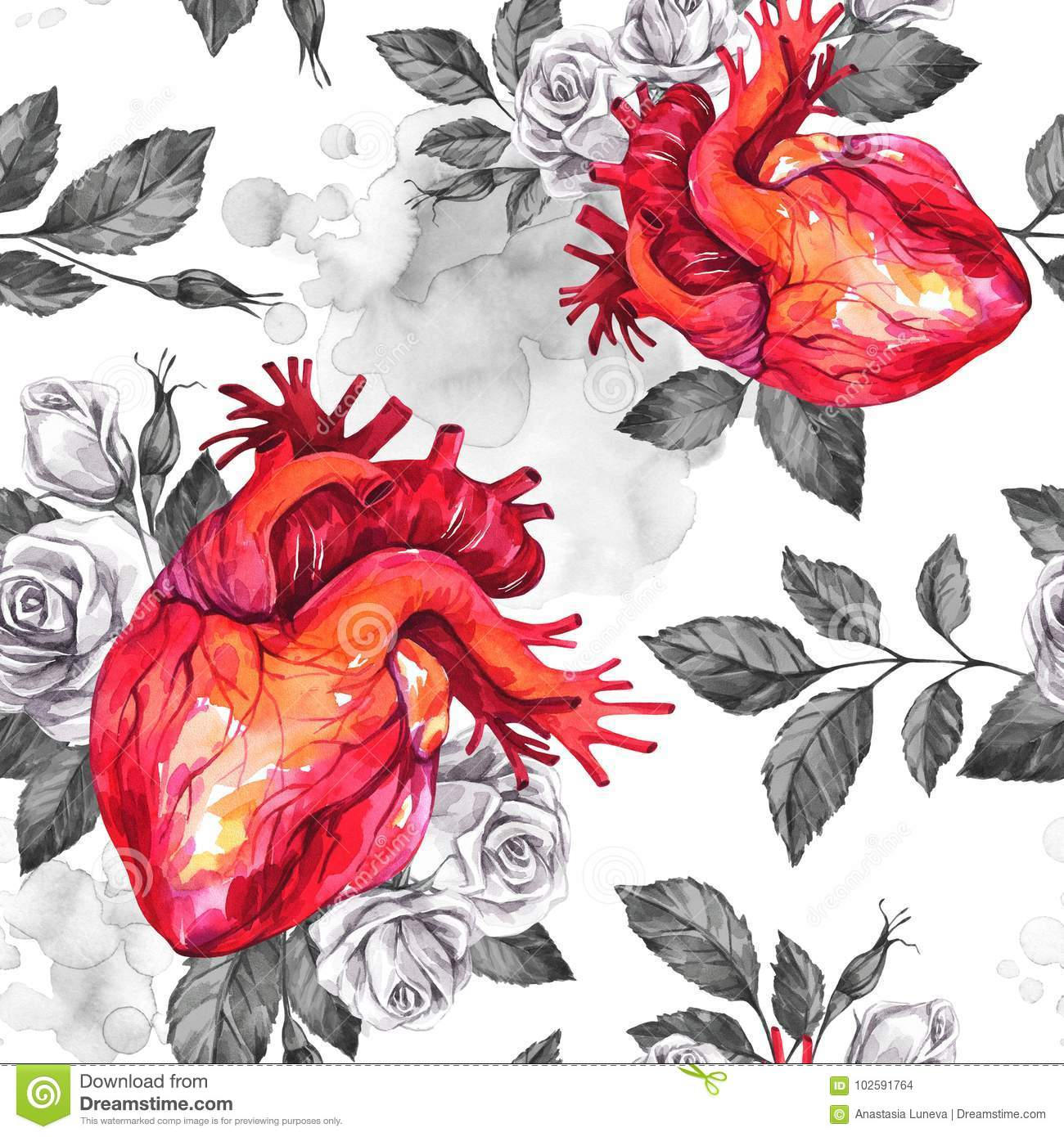 Watercolor Seamless Pattern, Anatomic Hearts With Sketches Of Roses ...