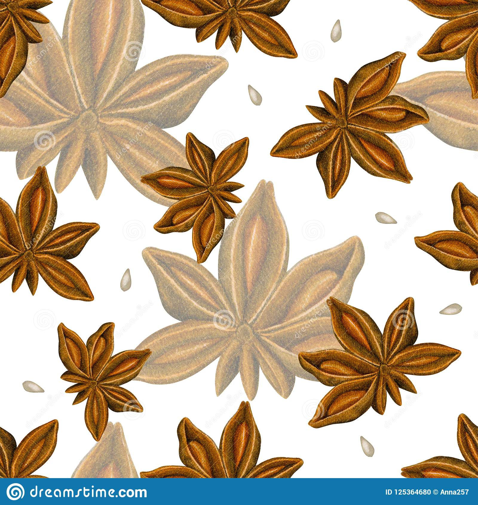 Watercolor seamless pattern with anise. Hand drawn botanic design. Template for a banner, poster, notebook, invitation