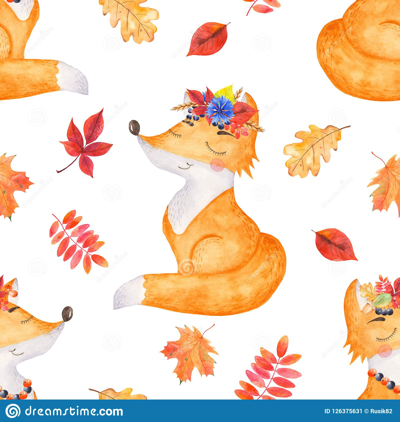 Watercolor Seamless Pattern With Autumn Leaves And A Cute Cartoon Fox Stock Illustration Illustration Of Childrens Design 126375631