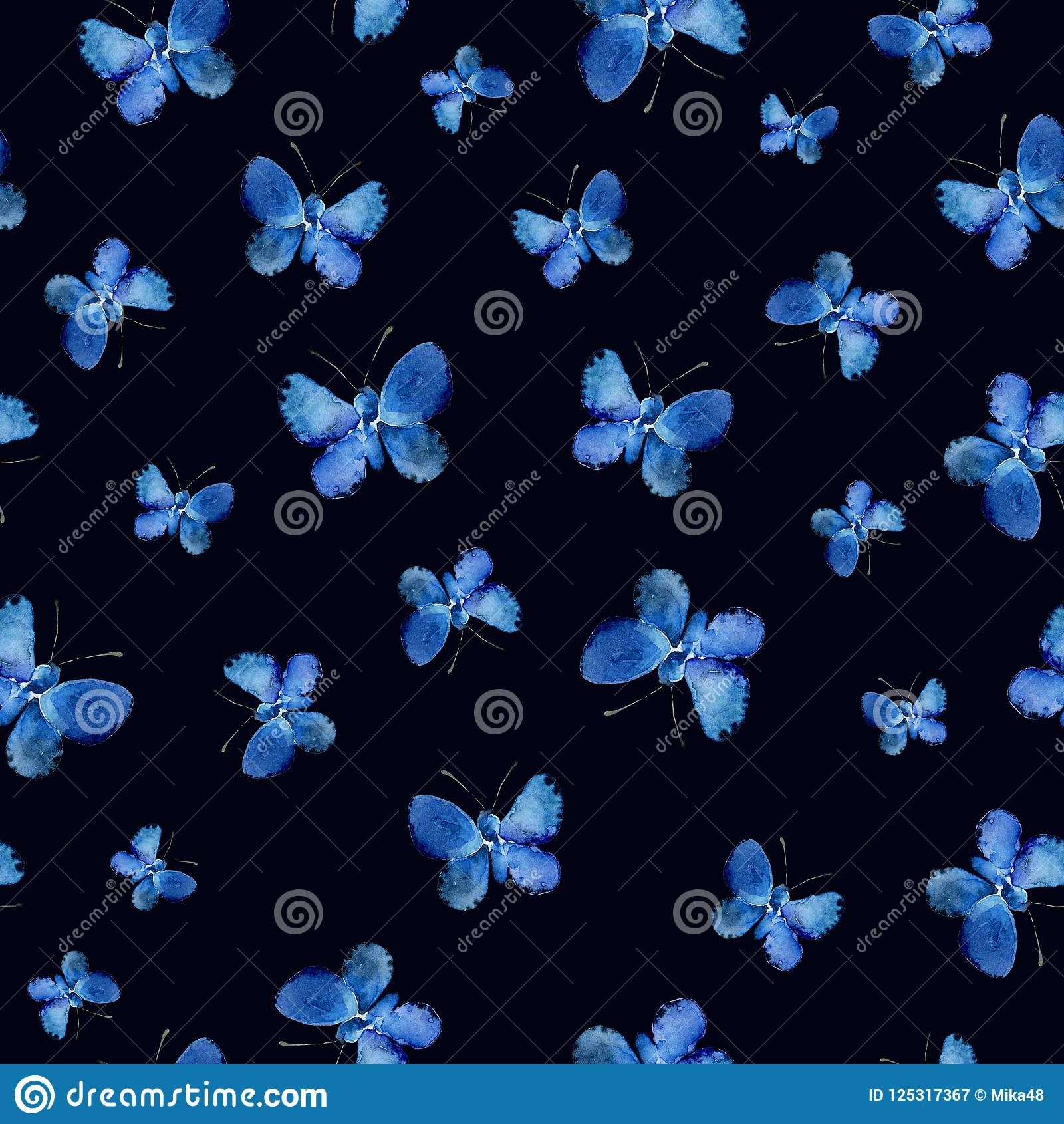 Seamless pattern with blue butterflies