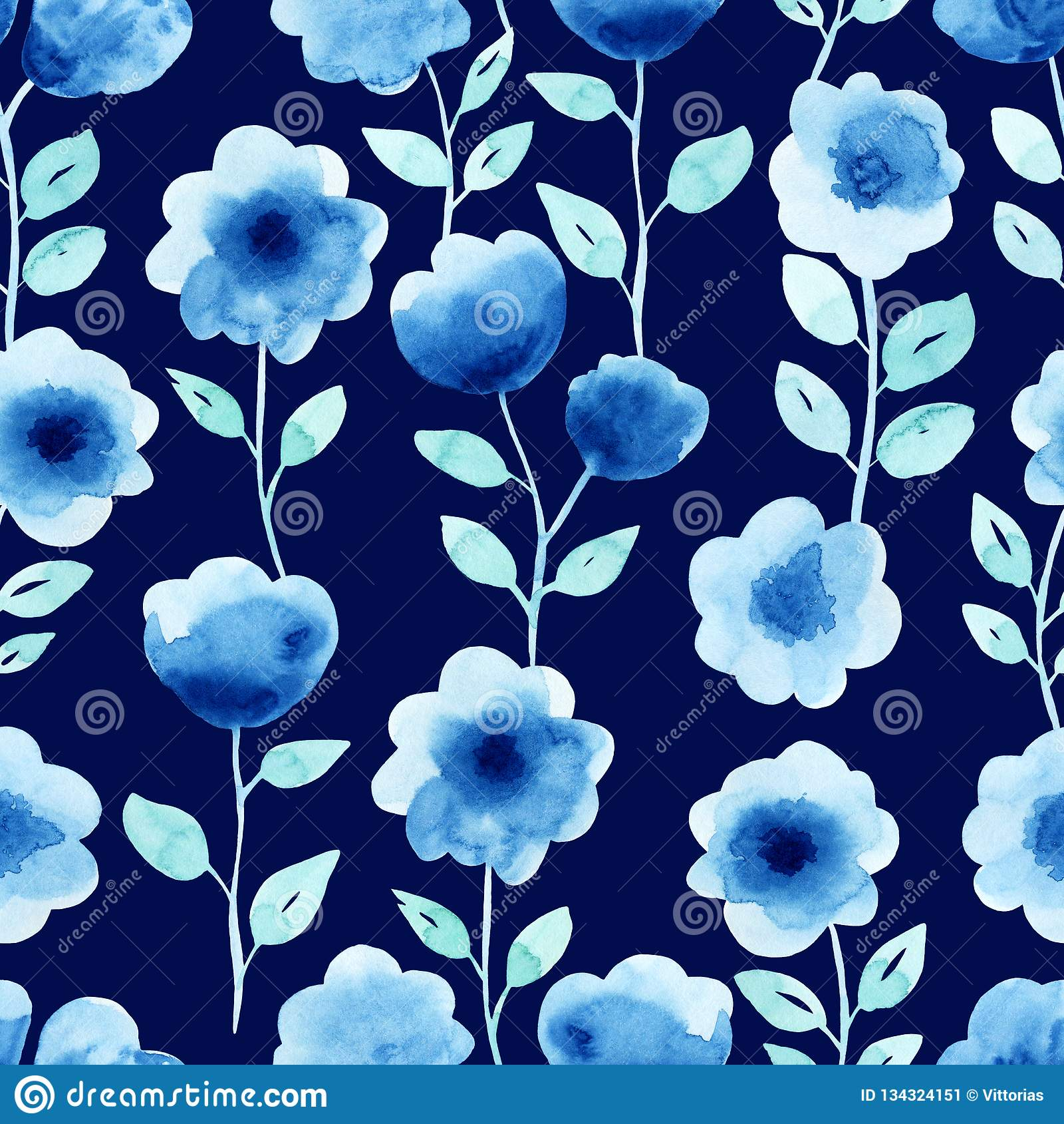 Watercolor seamless blue pattern with flowers