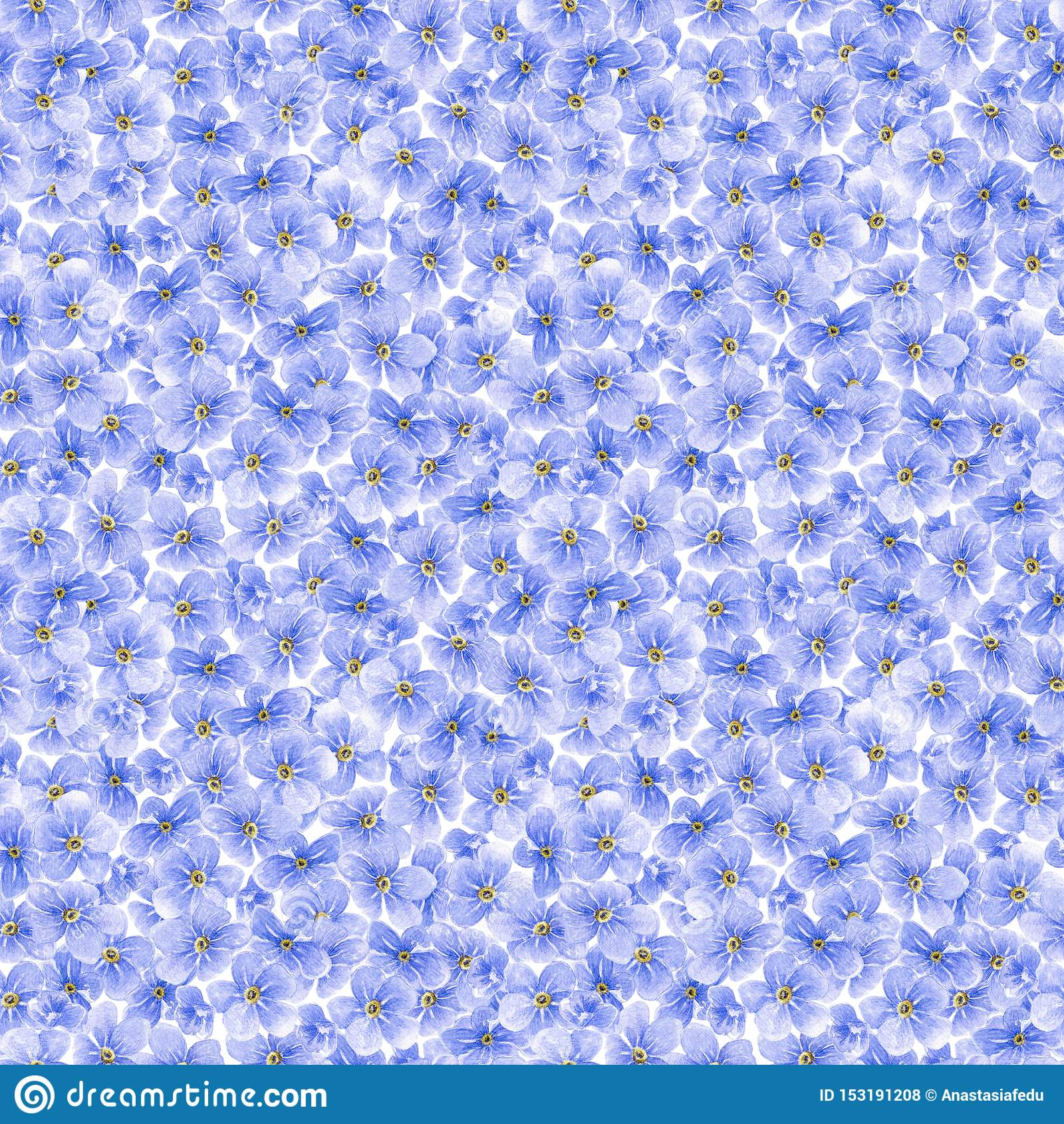 Watercolor seamless pattern with blue forget me not flowers