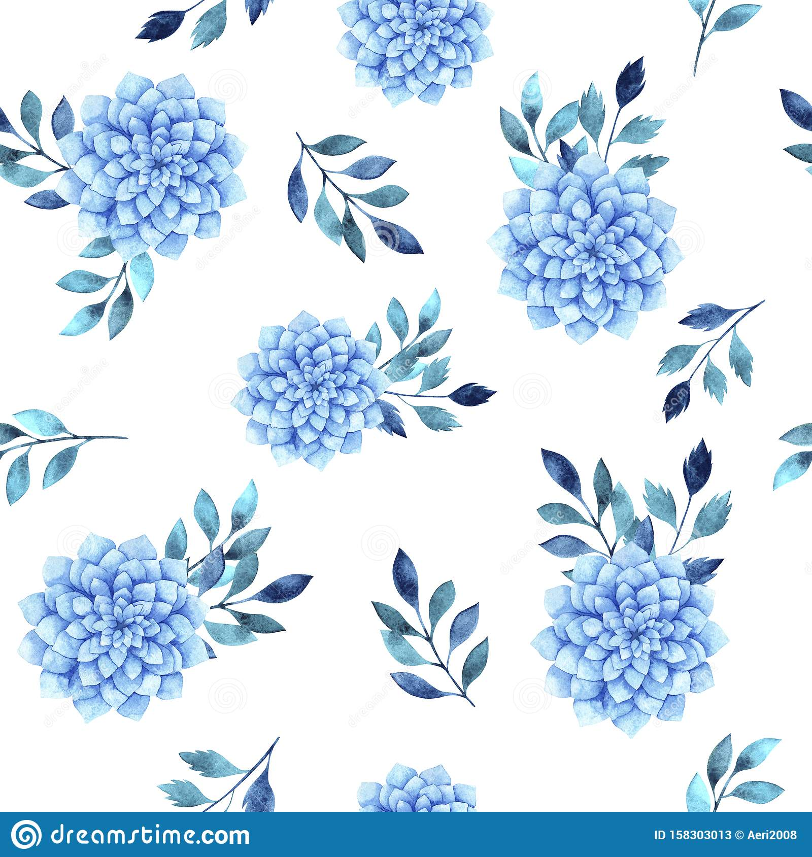 Watercolor Seamless Pattern With Blue Succulent And Leaves Stock Illustration Illustration Of Nature Pattern 158303013