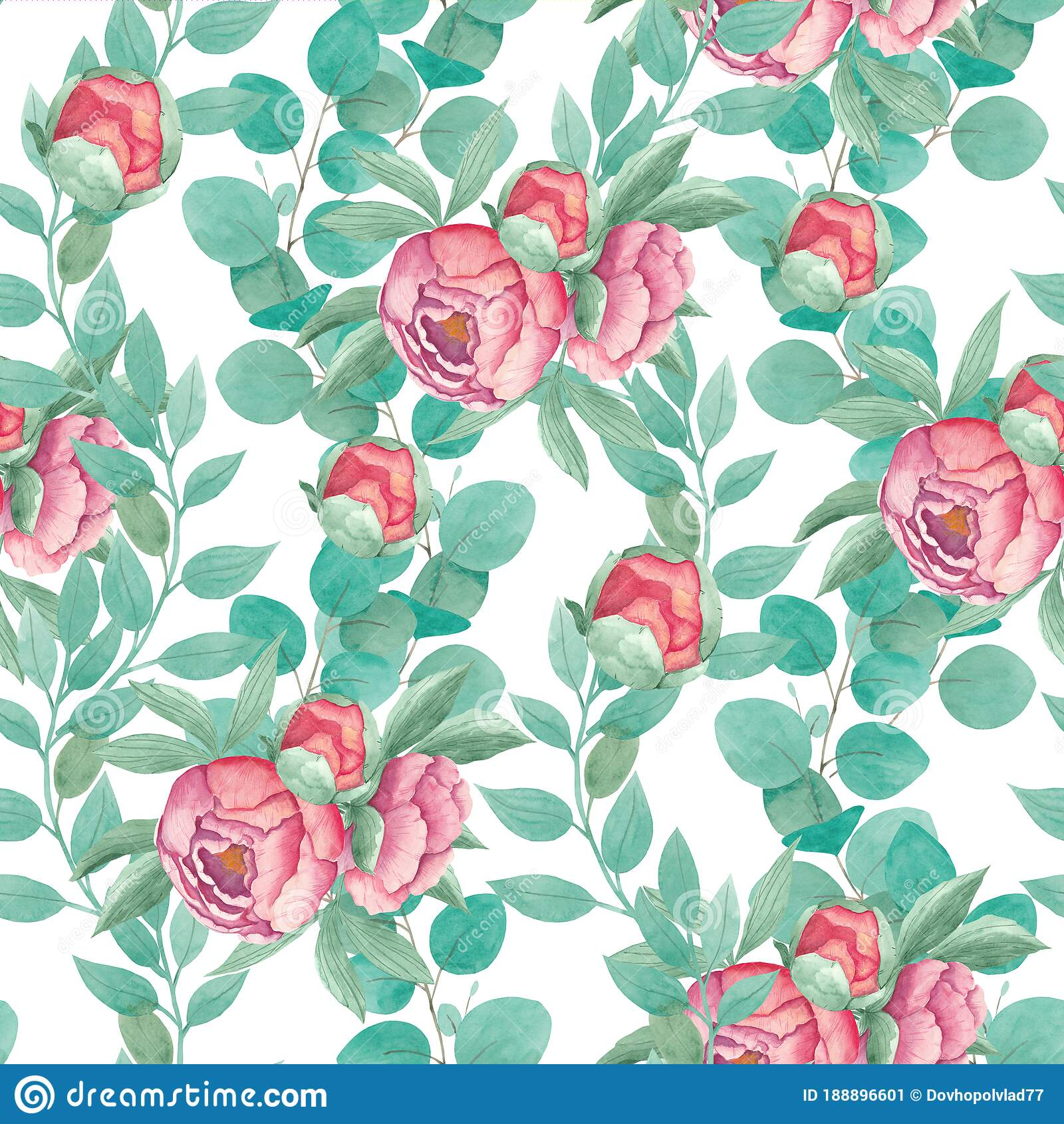 Watercolor Seamless Pattern Bouquet Peony Flowers With Leaves Branches Of Eucalypt Isolated On White Background Boho Stock Illustration Illustration Of Fabric Garden 188896601