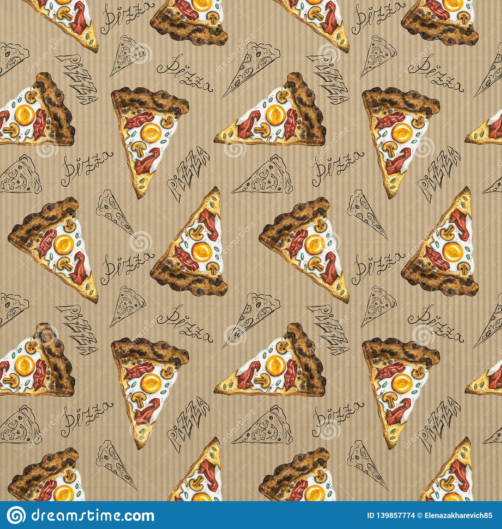 Seamless pattern watercolor carbonara pizza on cardboard