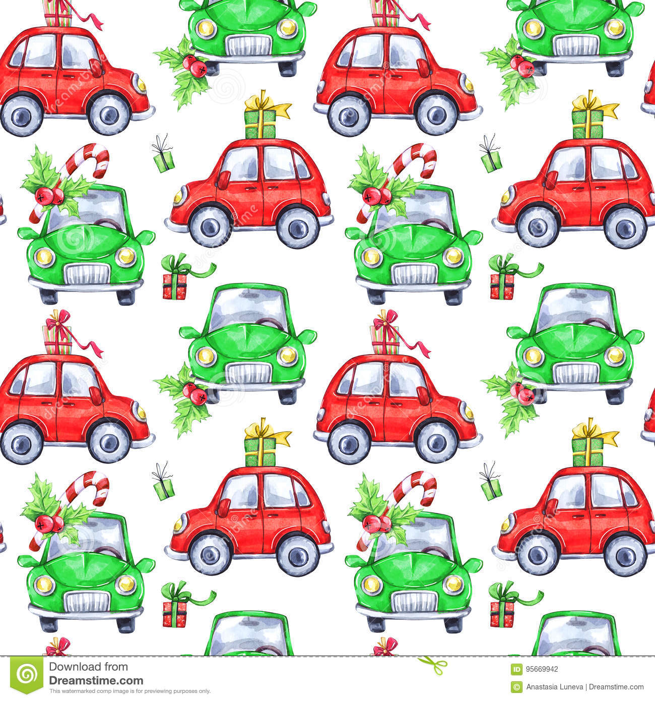Watercolor seamless pattern with cartoon holidays cars and gifts. New Year. Celebration illustration. Merry Christmas.