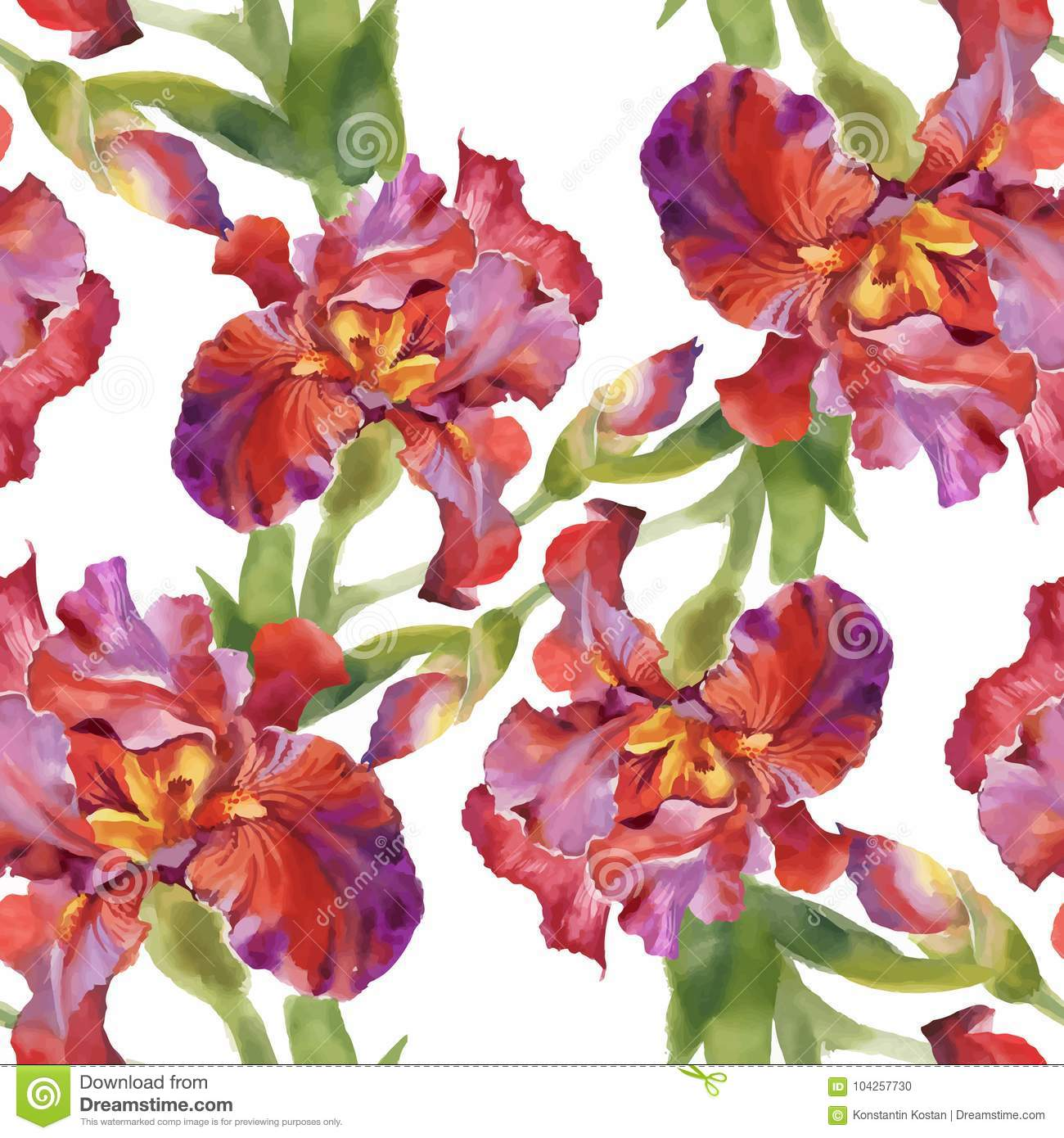 Watercolor Seamless Pattern With Colorful Flowers And Leaves On ...