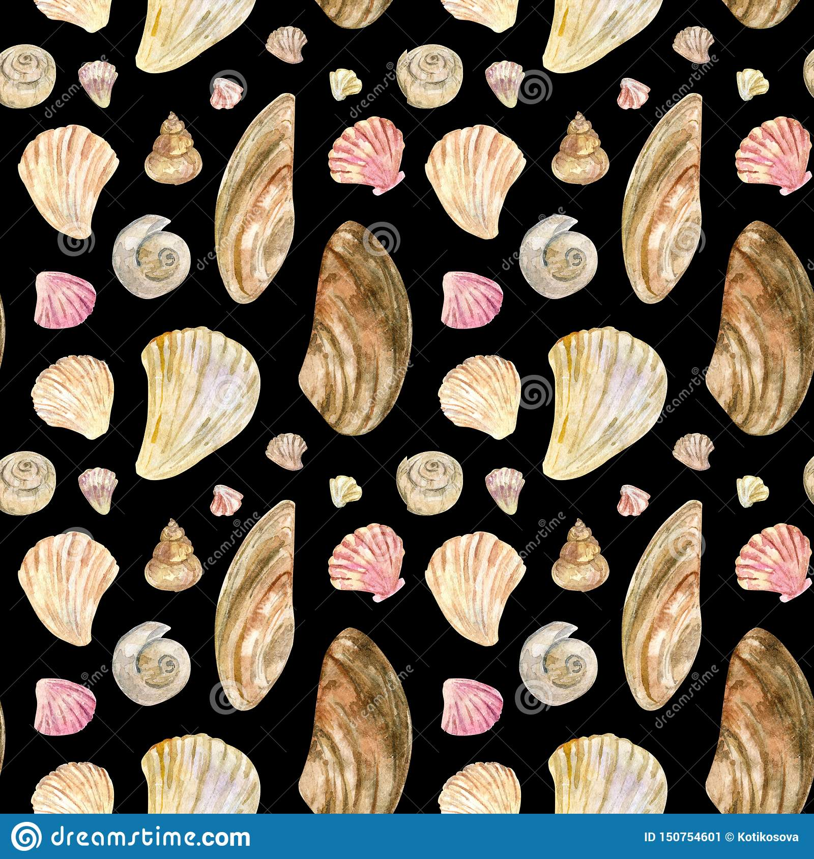 Beige and pink watercolor seamless shell pattern on black
