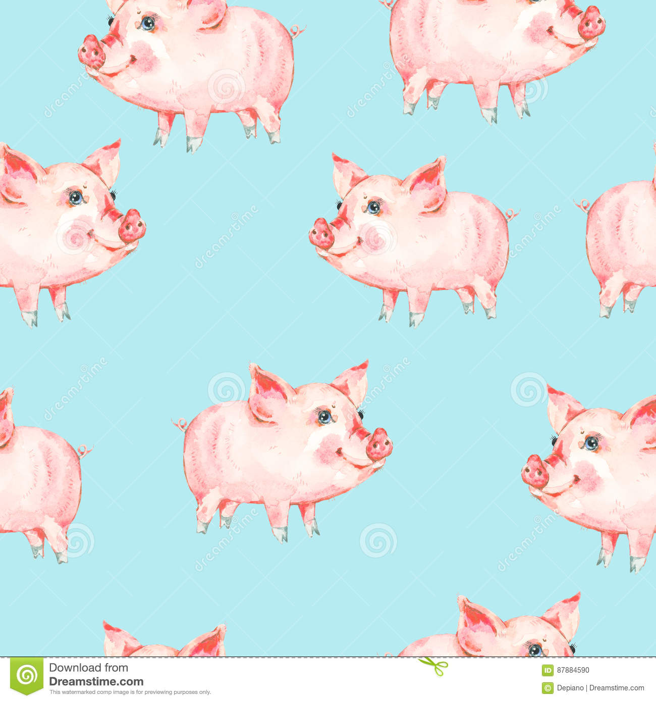 Watercolor Seamless Pattern With Cute Piggy Stock