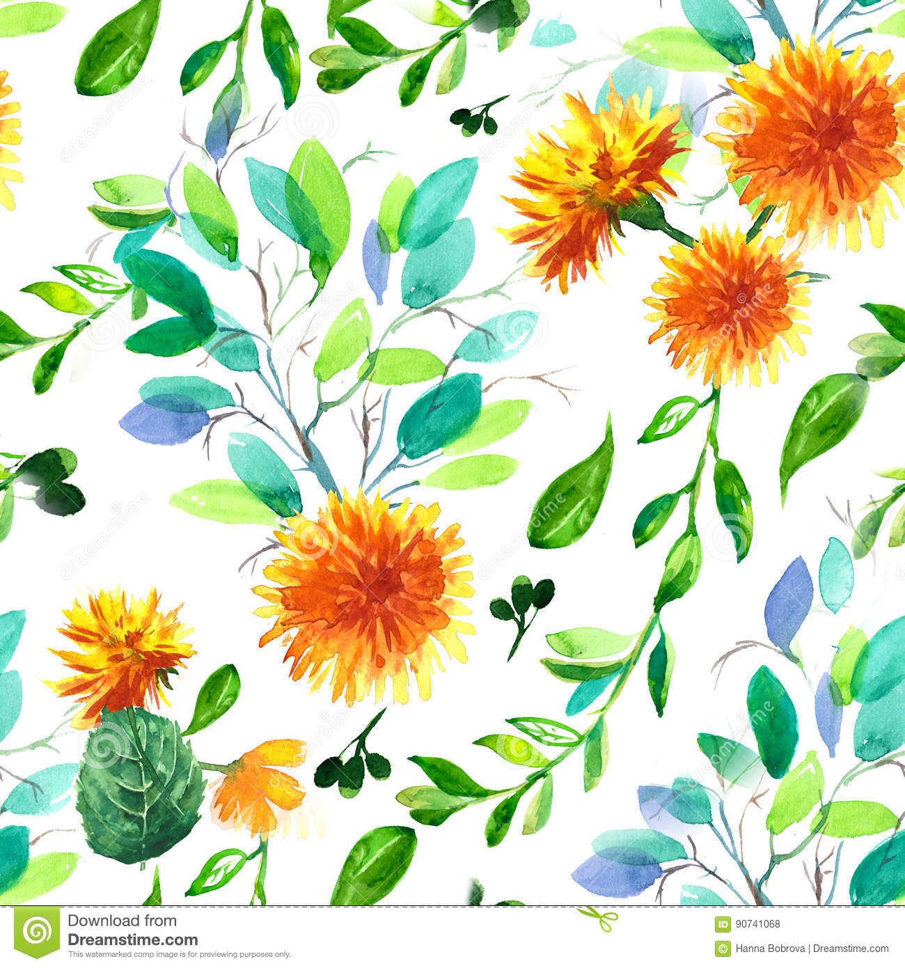 Watercolor Seamless Pattern With Dandelion And Leaves Design For