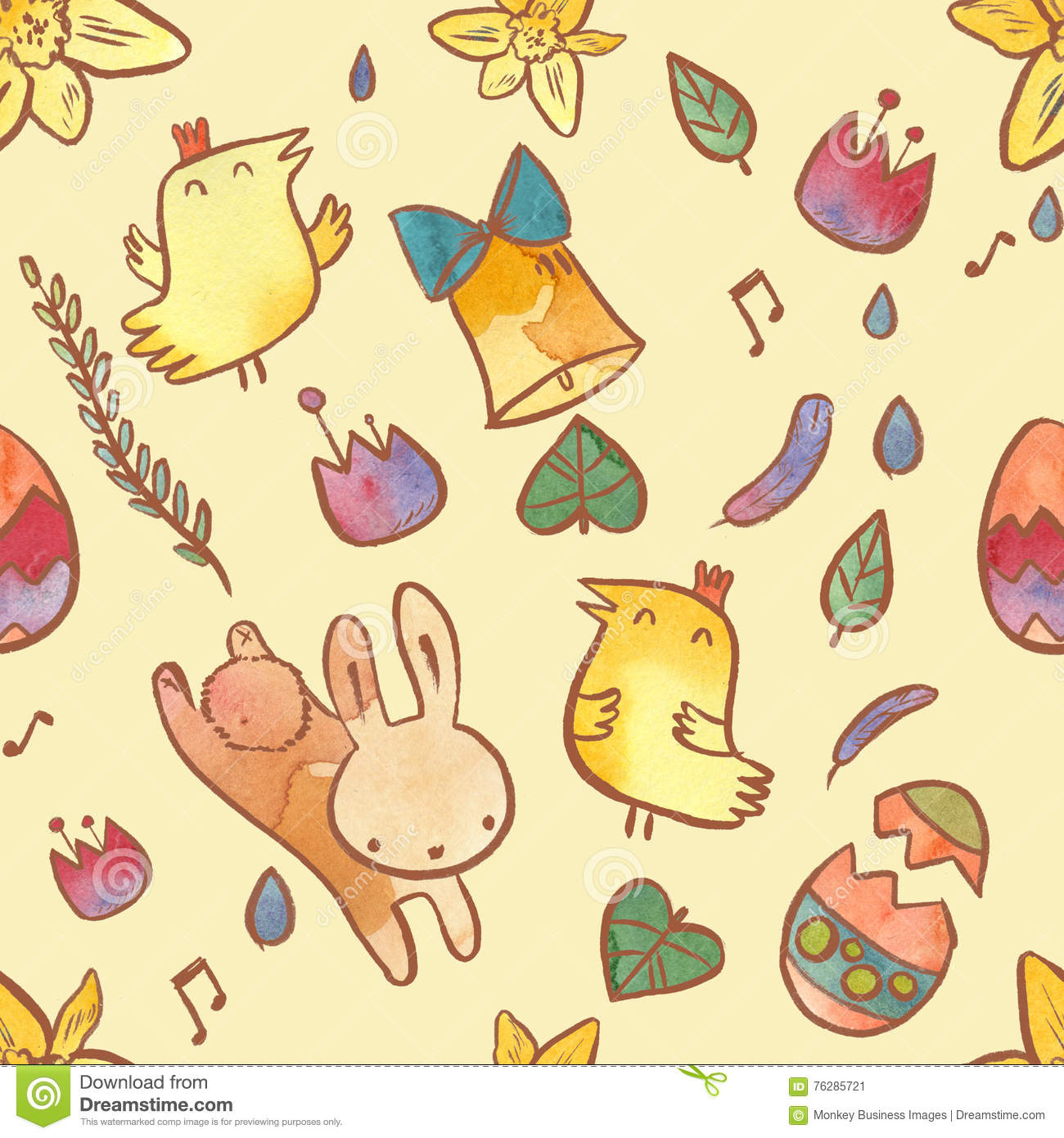 Watercolor seamless pattern on Easter theme. Easter background with bunny, chicks, eggs and flowers