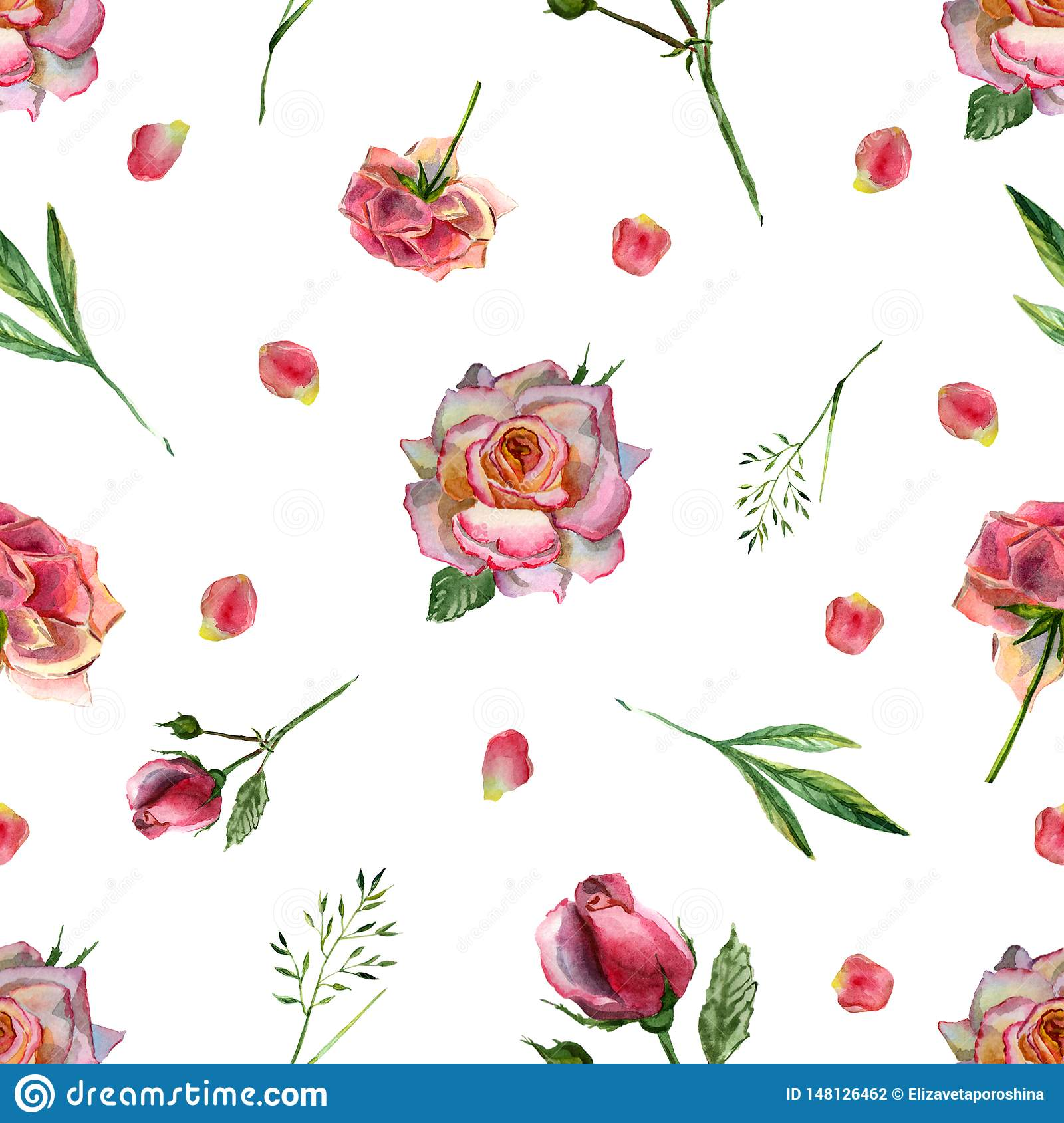 Watercolor seamless pattern with flowers and pink petals