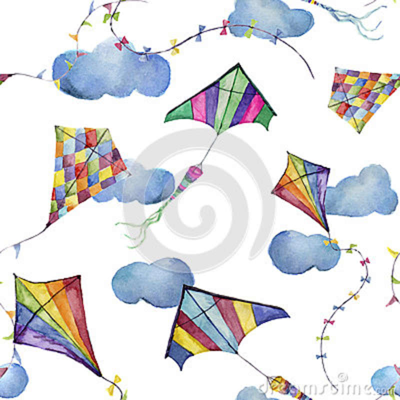 Watercolor Seamless Pattern With Kites And Clouds Hand Drawn Delectable Kite Pattern