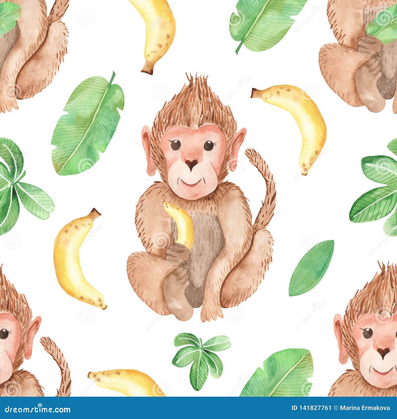 Monkeys Bananas Vines Pink Fabric