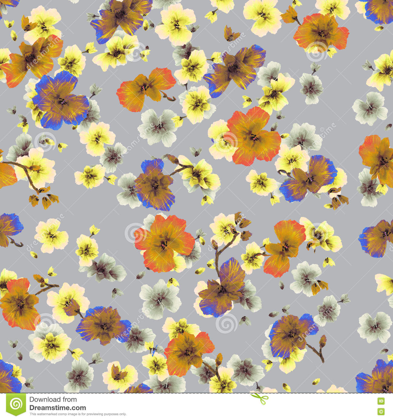 Watercolor Seamless Pattern Orange Yellow Blue Flowers On A Gray
