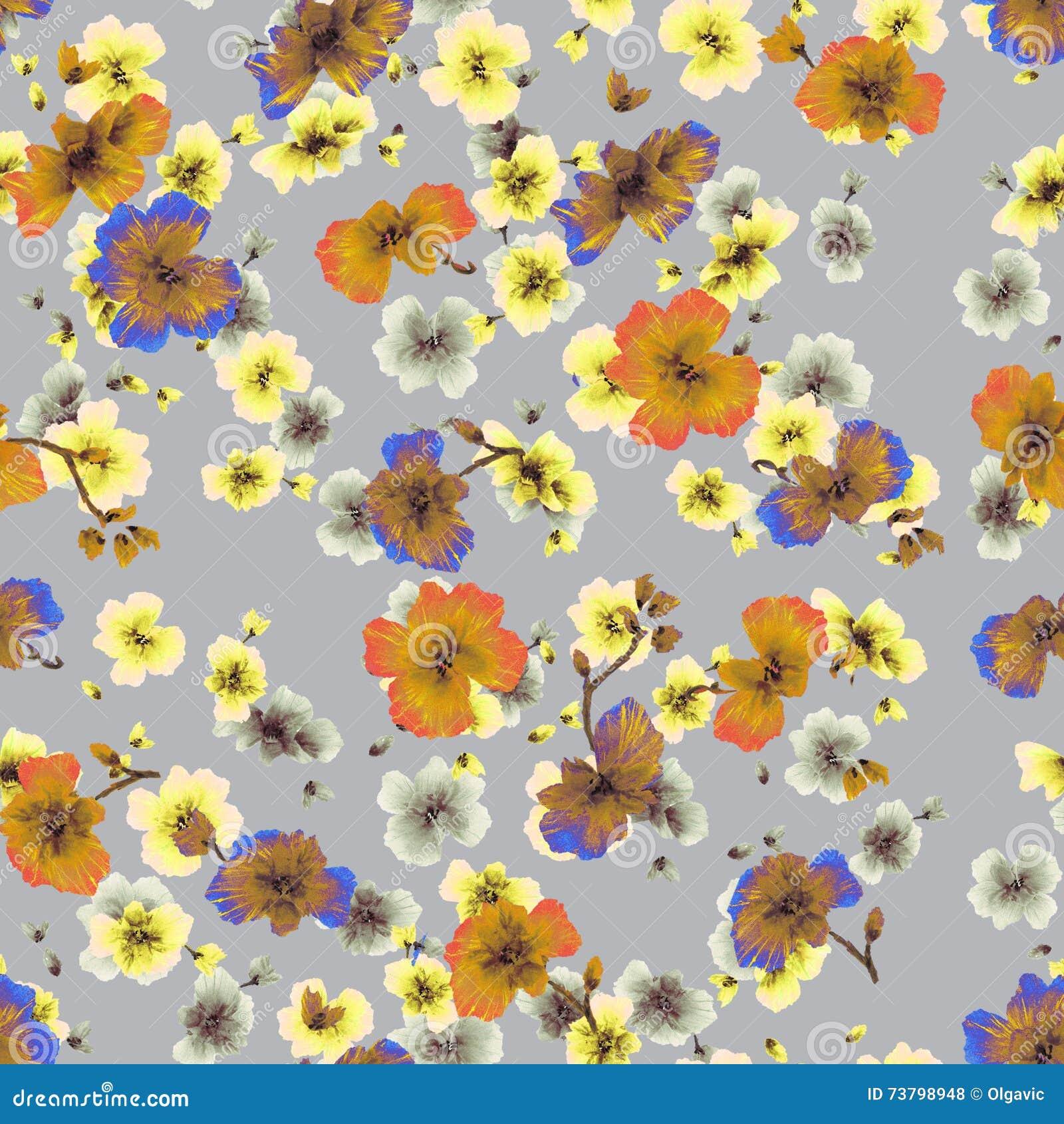 Watercolor seamless pattern orange yellow blue flowers on a gray download watercolor seamless pattern orange yellow blue flowers on a gray background stock illustration mightylinksfo