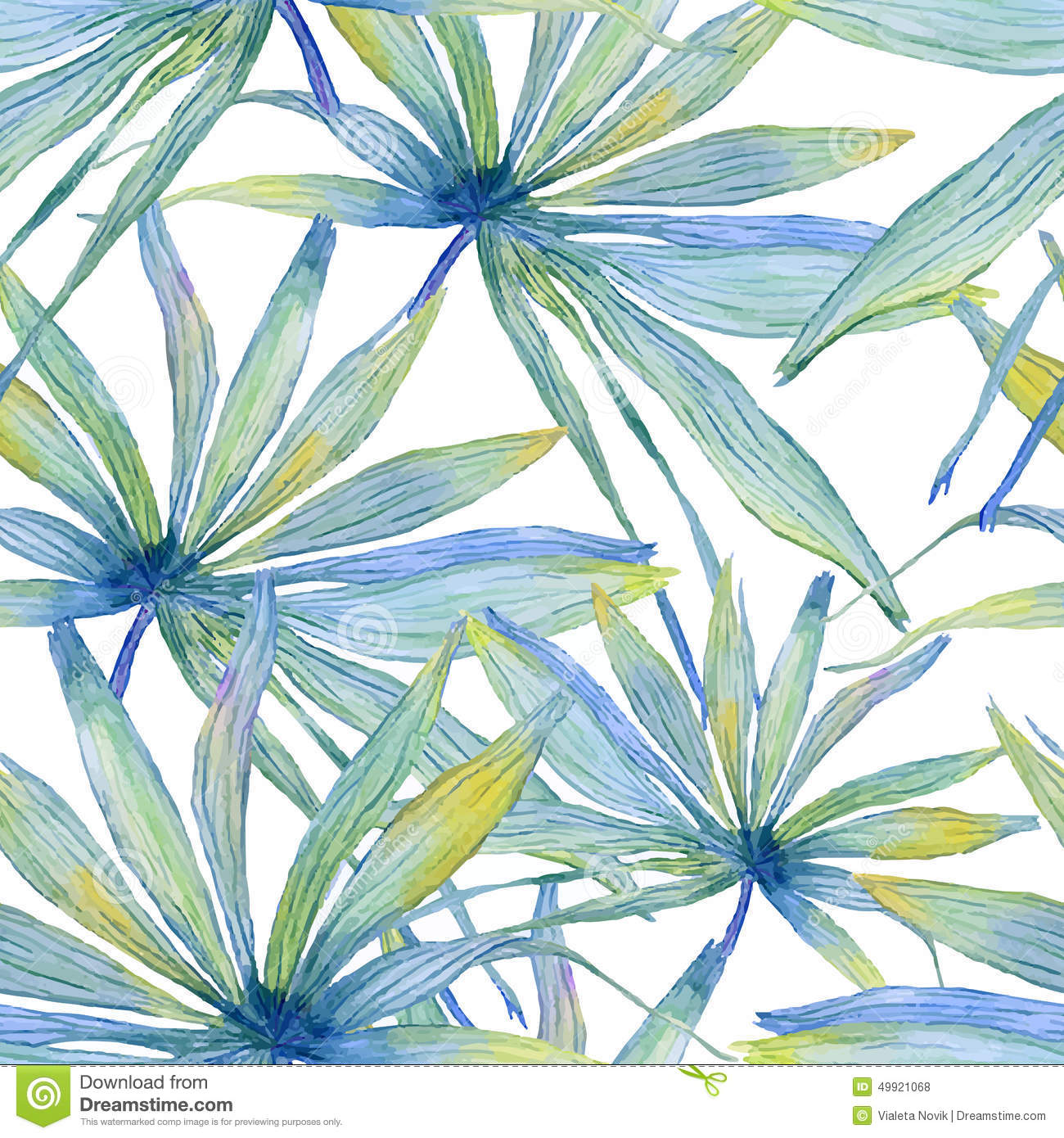 Watercolor seamless pattern with palm leaves