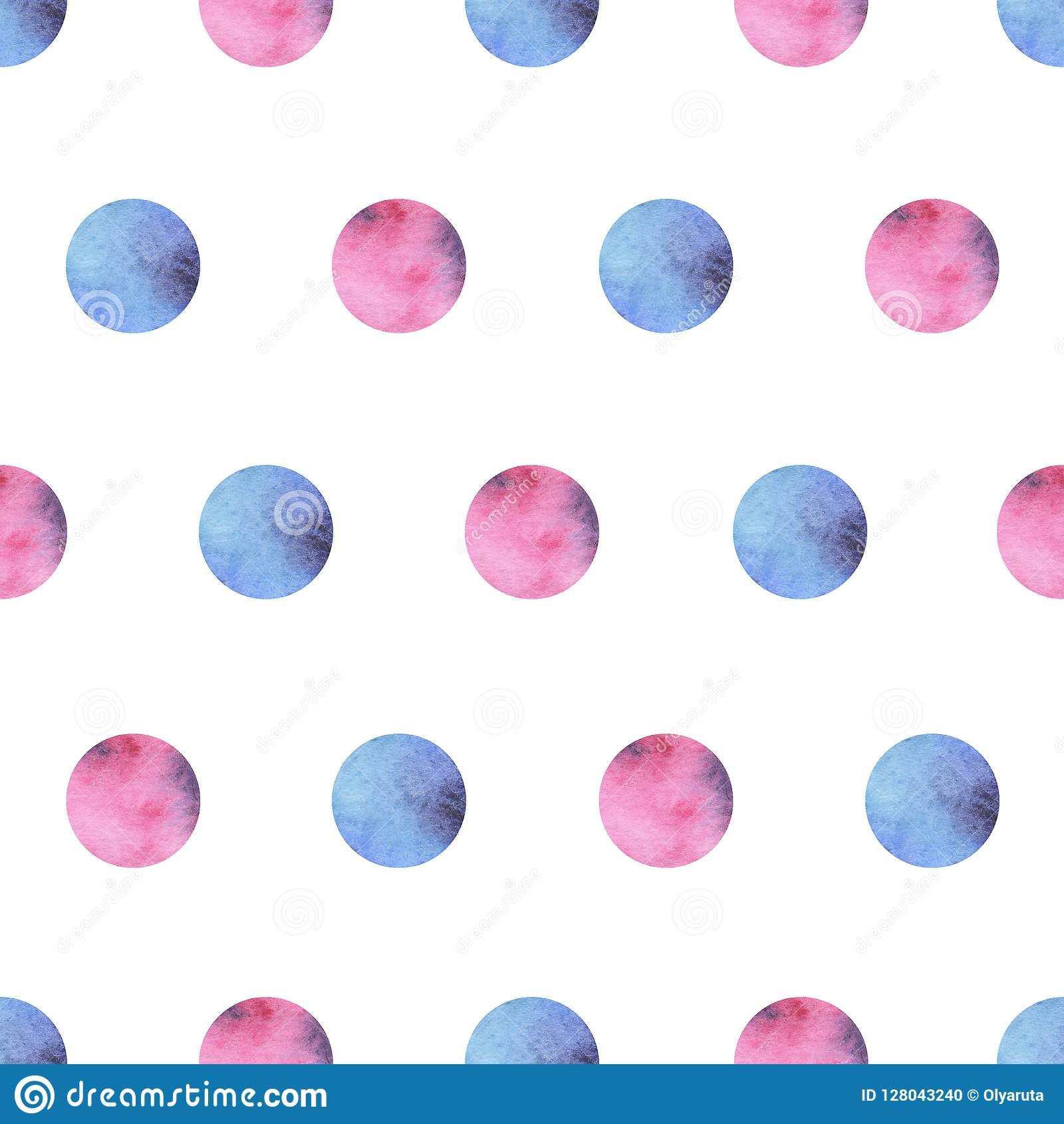 Watercolor seamless pattern with pink and blue circles