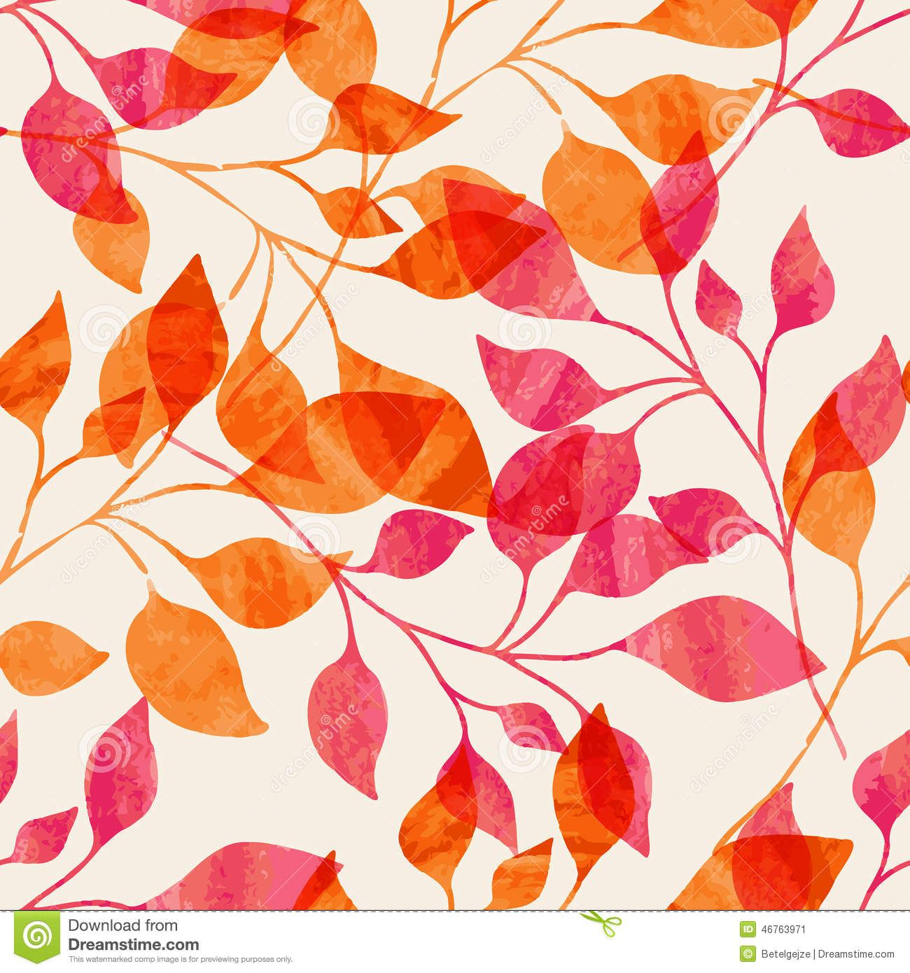 Watercolor seamless pattern with pink and orange autumn leaves. Vector nature background.