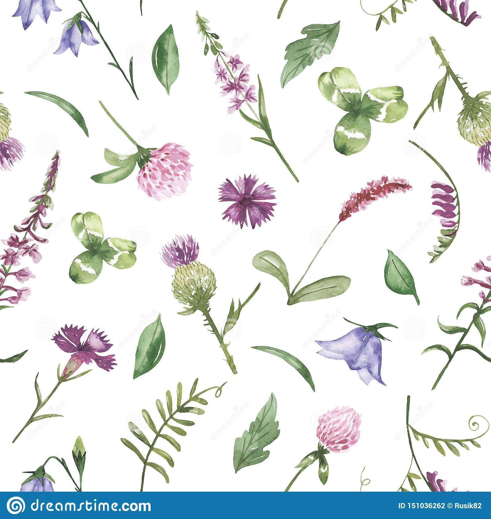 Watercolor seamless pattern with purple wild flowers.