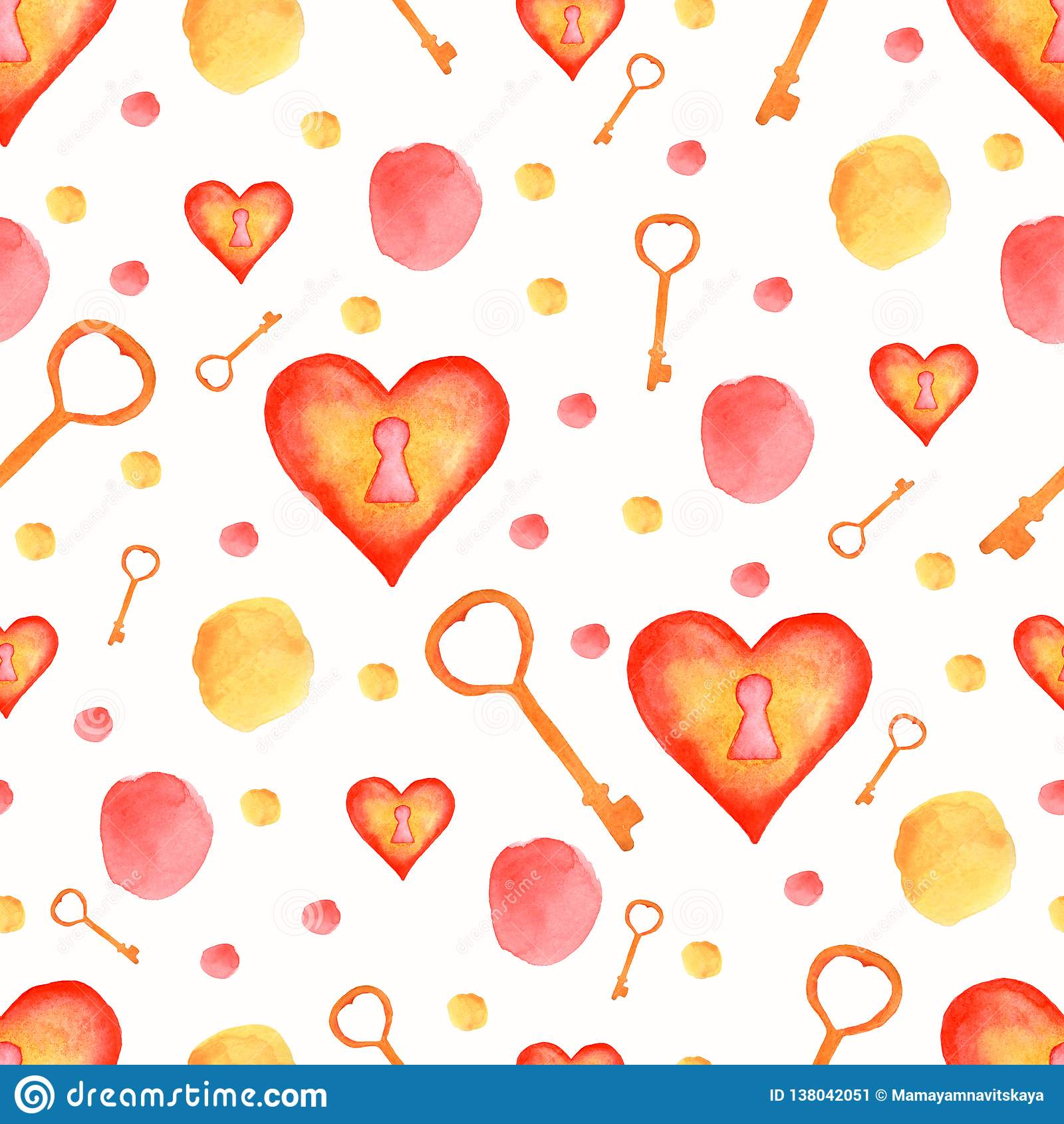 Watercolor seamless pattern with red and yellow elements.Heart lock,key,spots,polka dot. Wedding background. Watercolor texture