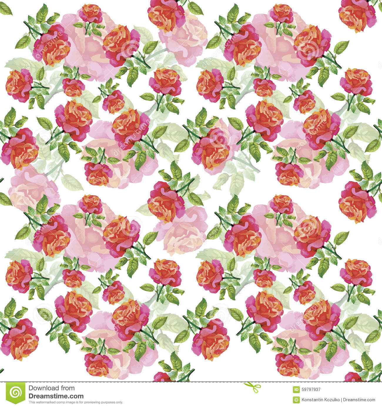 Watercolor Seamless Pattern With Roses. Background For Web Pages ...