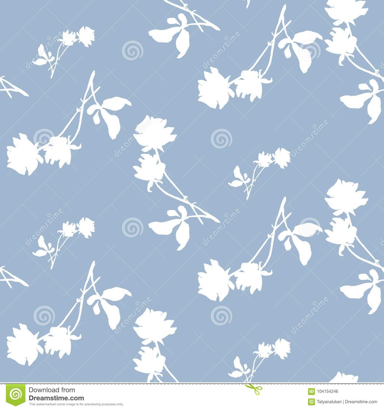 Watercolor Seamless Pattern With Silhouettes Of White Roses And Leaves On Light Blue Background Chinese