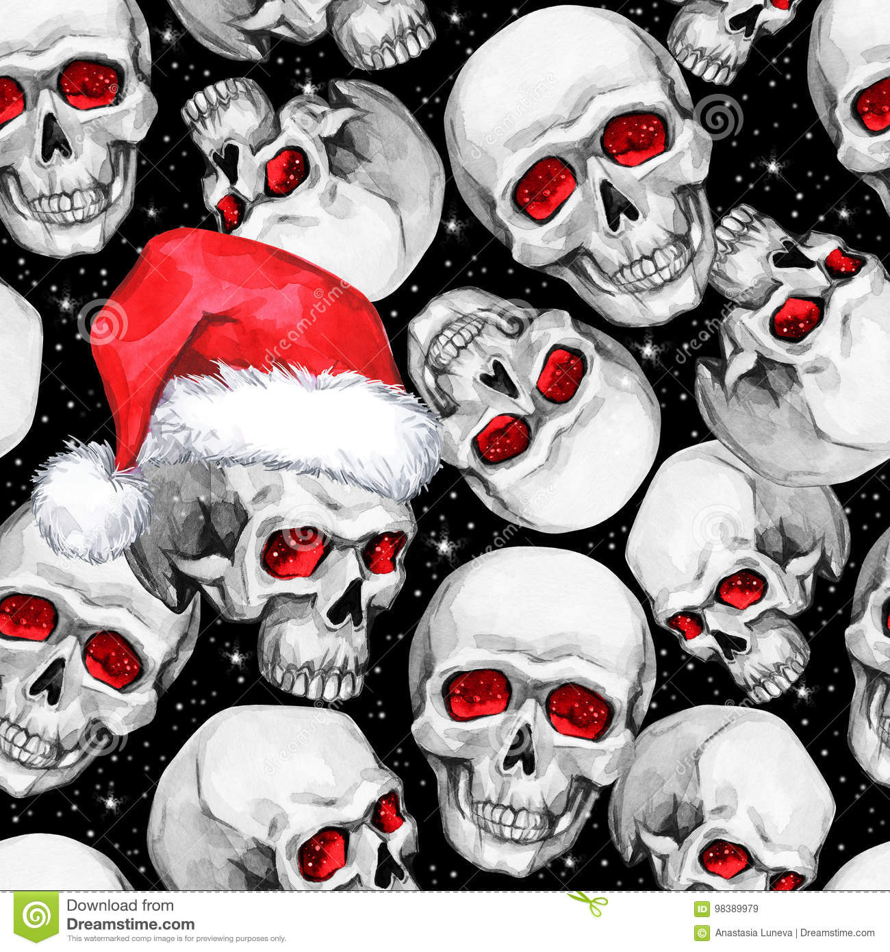 49be2ea0b0769 Watercolor seamless pattern with sketchy skulls in Santa hat. Cretive New  Year. Celebration illustration
