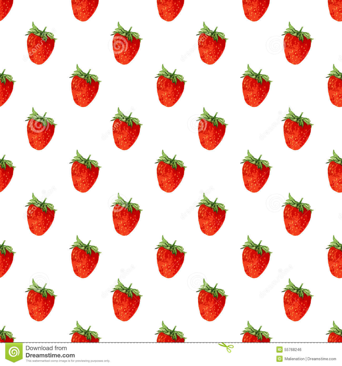 Watercolor seamless pattern with strawberries . Vector background. Hand drawn texture