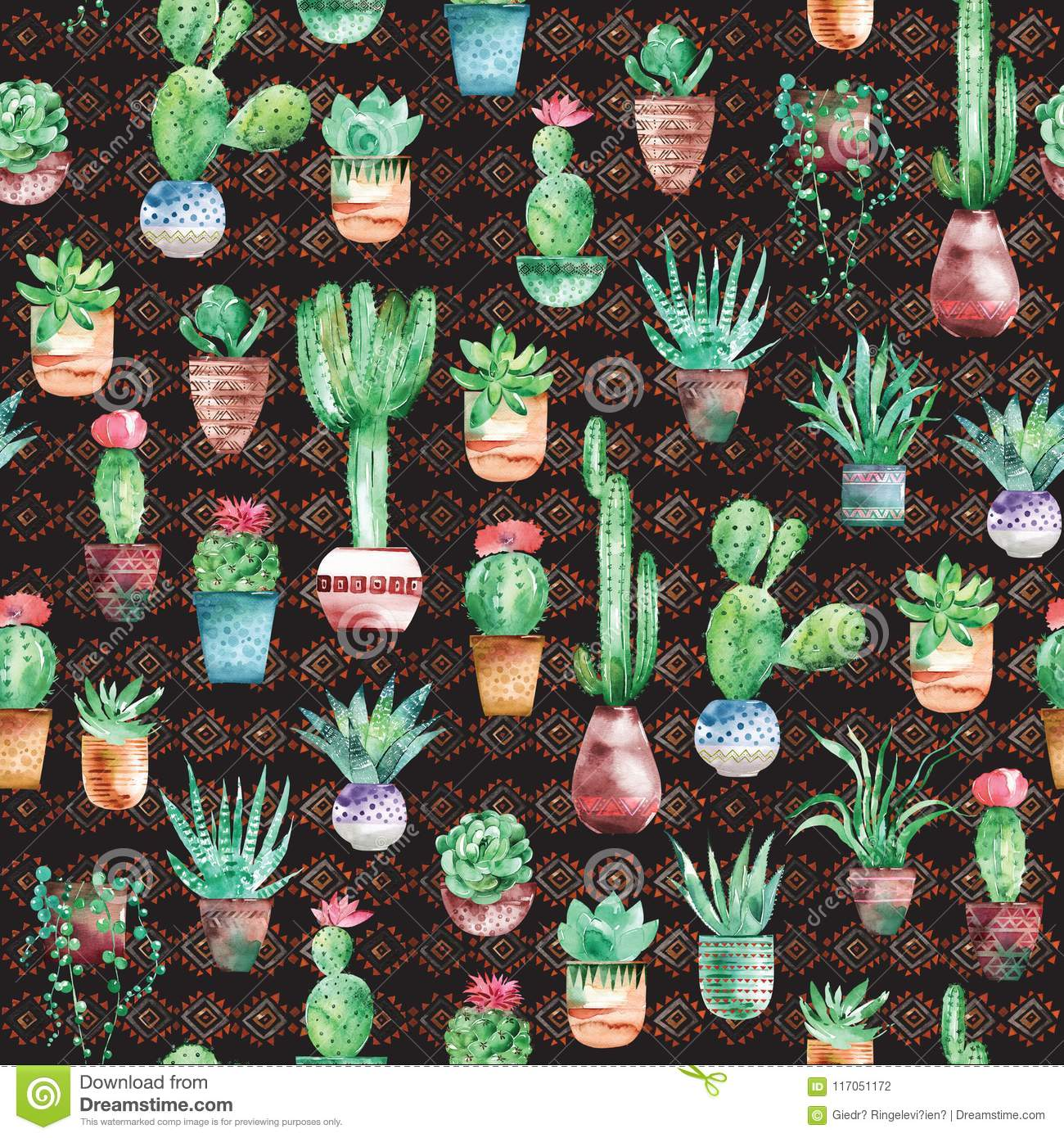 Watercolor Seamless Pattern With Succulents And Cactus In The Pots On The Dark Background Stock Illustration Illustration Of Color Fabric 117051172