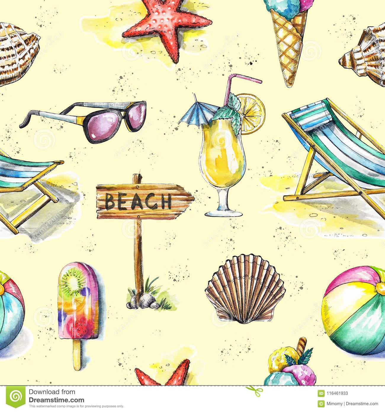 6d5e13018f446 Watercolor Seamless Pattern With Summer Beach Objects Stock ...