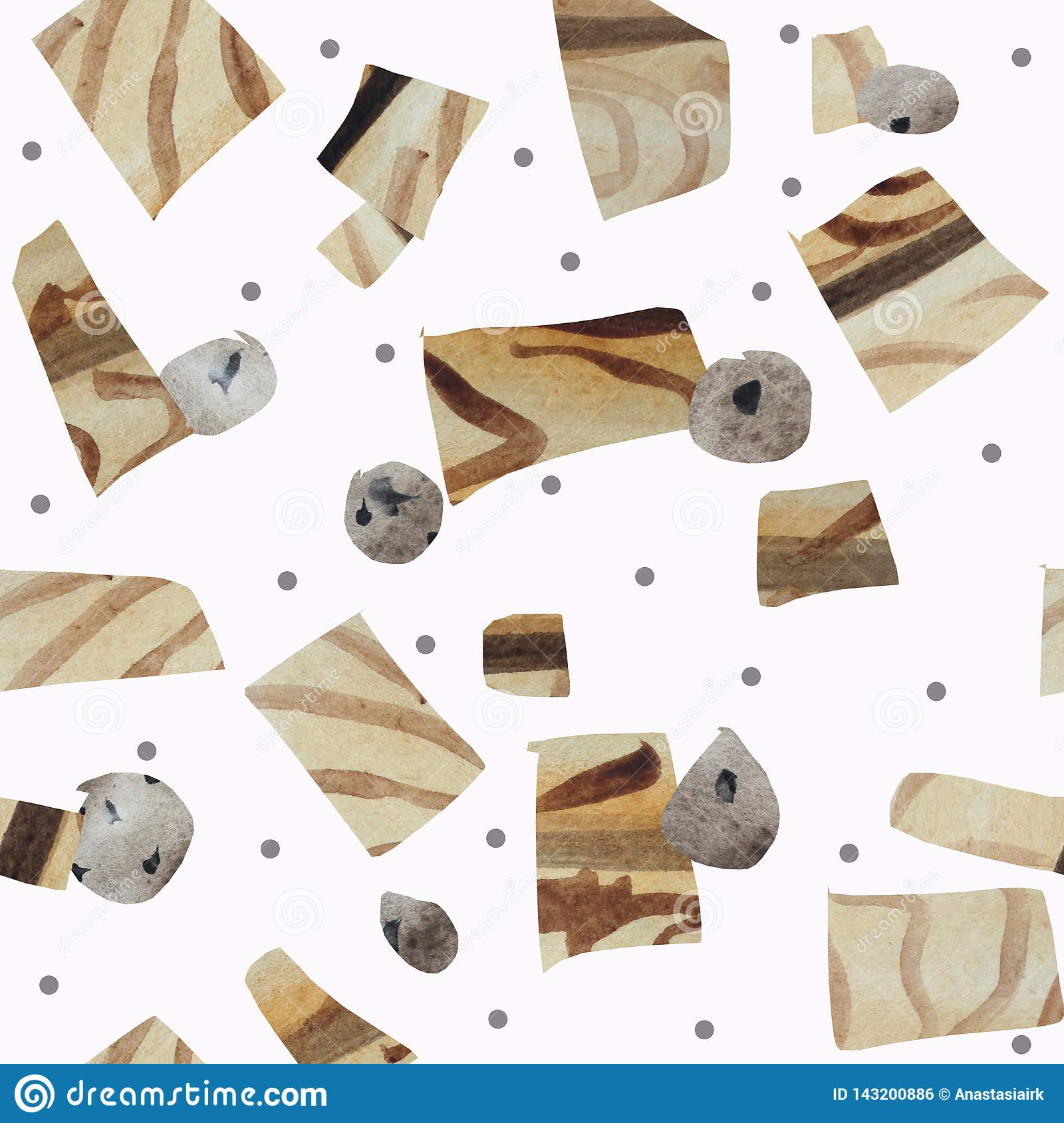 Seamless pattern of textural geometric shapes imitating wood and stones on a white background.