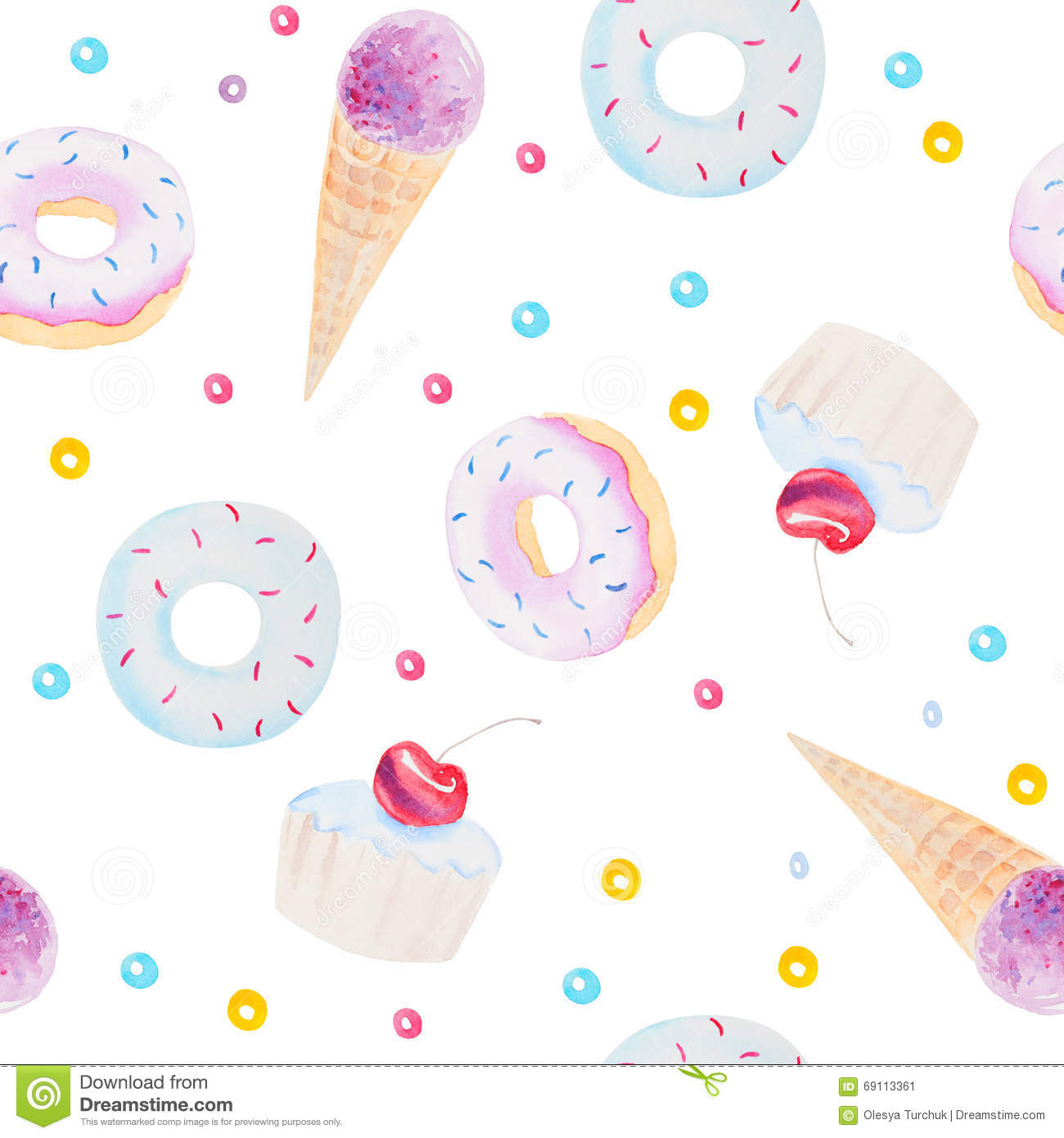Seamless Pattern With Hand Drawn Watercolor Ice Cream: Watercolor Seamless Pattern Texture Of Fresh Sweets And