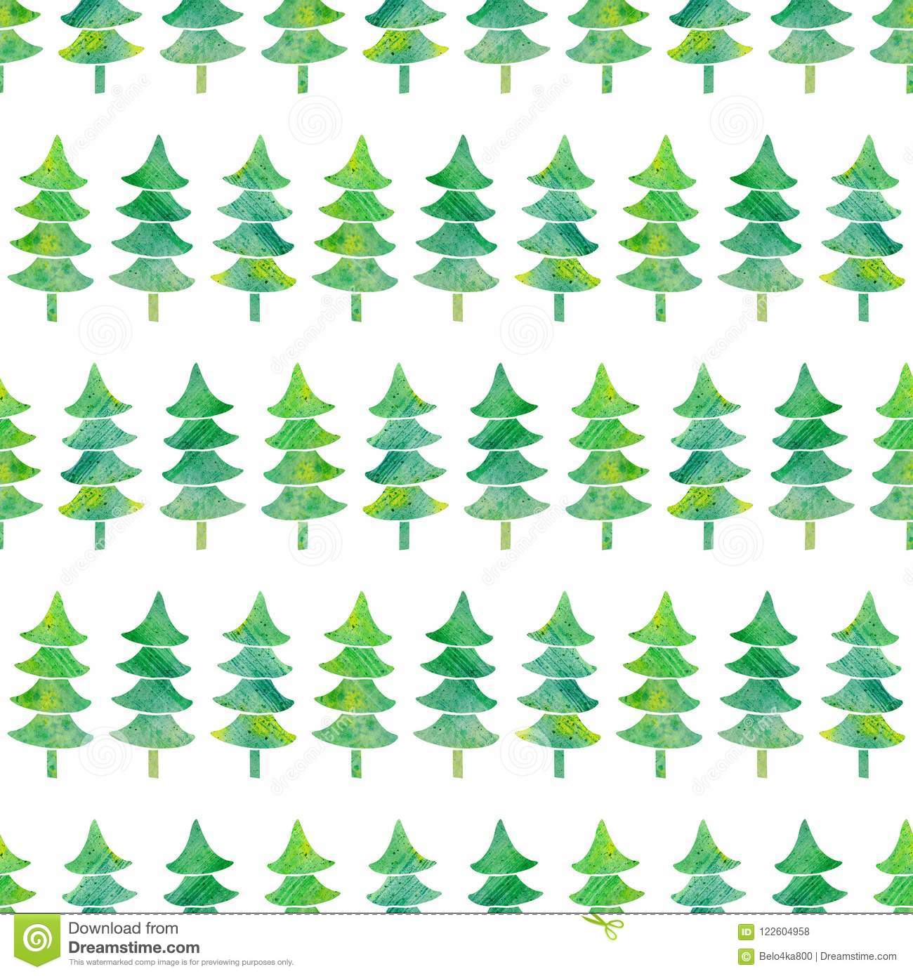 Watercolor Seamless Pattern With Textured Xmas Trees. Stock