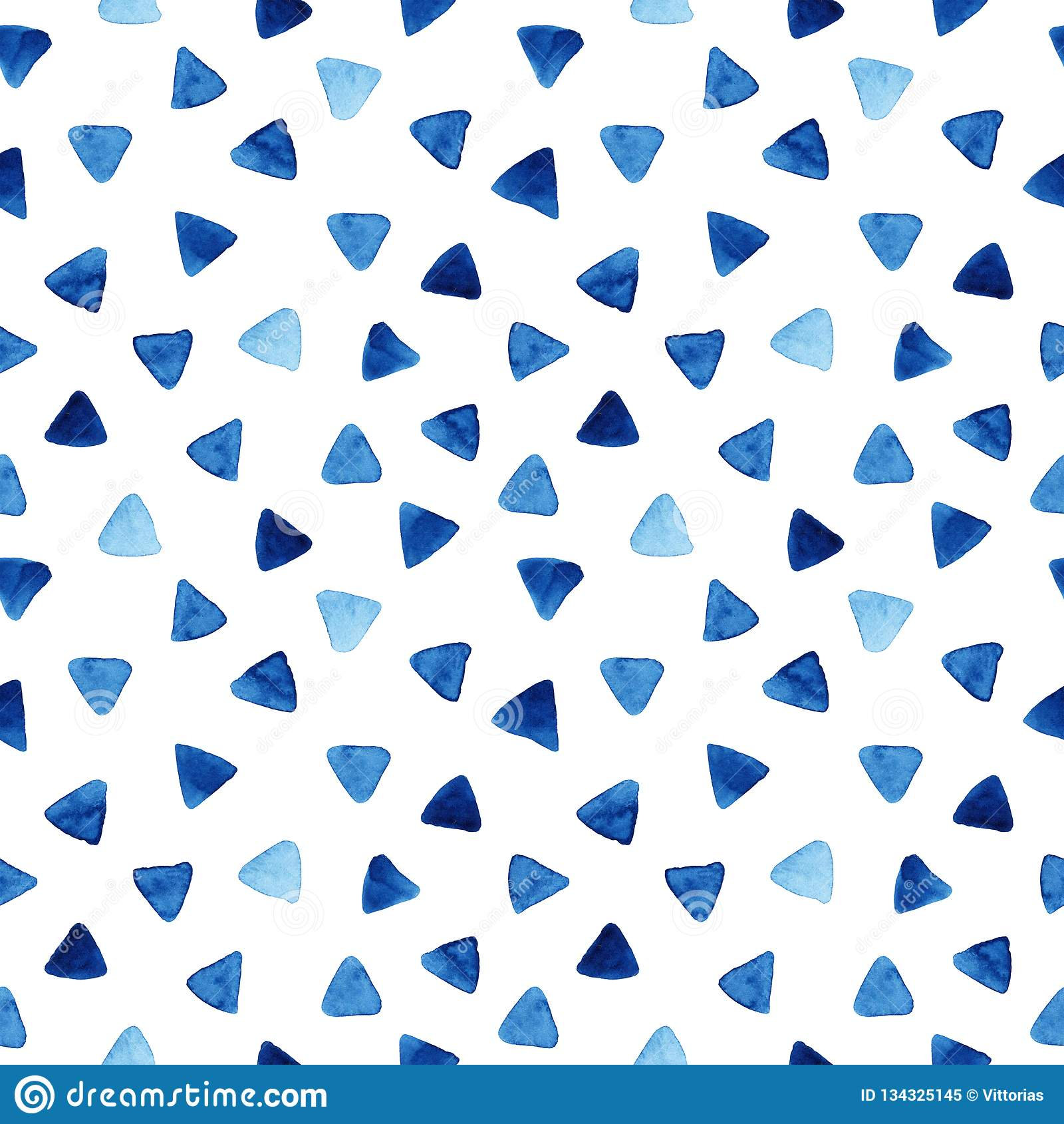 Watercolor seamless pattern with triangles
