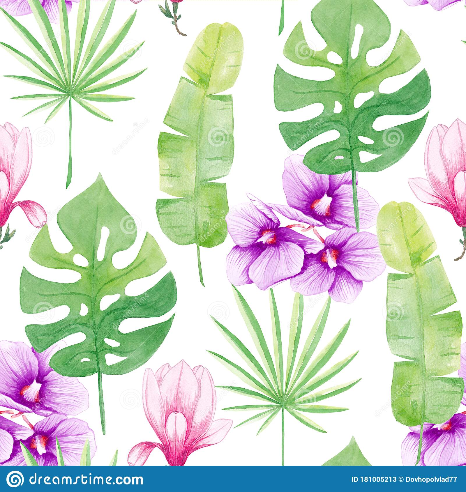 Watercolor Seamless Pattern Tropical Leaves Orhidea And Magnolia Trendy Floral Illustration Isolated On White Stock Illustration Illustration Of Drawing Nature 181005213 Vector art, clipart and stock vectors. dreamstime com