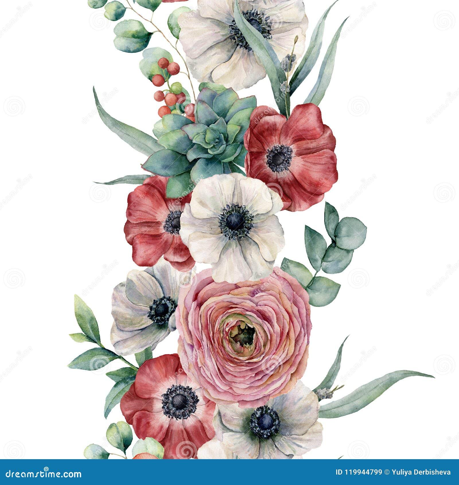Dark Red Roses Flowers Watercolor Botanical Art Boho: Watercolor Seamless Vertical Floral Border. Hand Painted