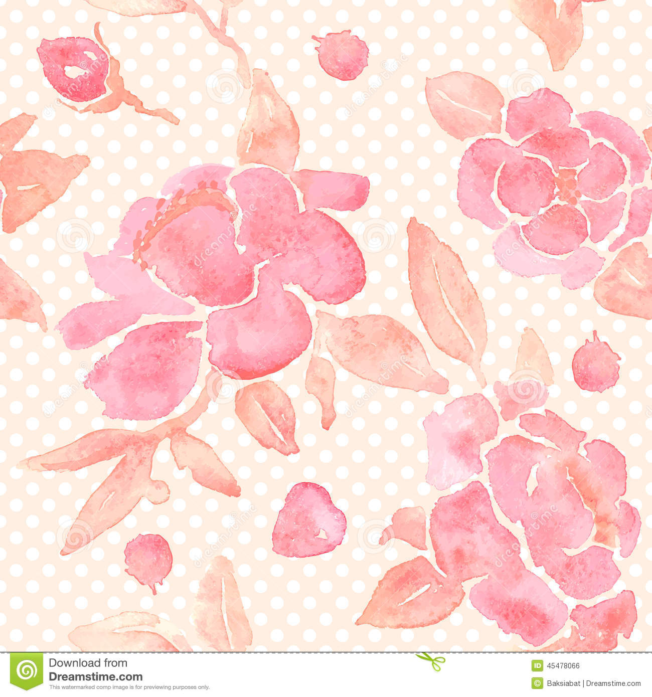 Watercolor Seamless Wallpaper With Peony Flowers Stock