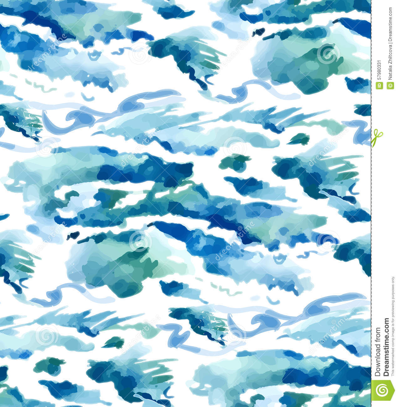 watercolor seamless waves background stock illustration