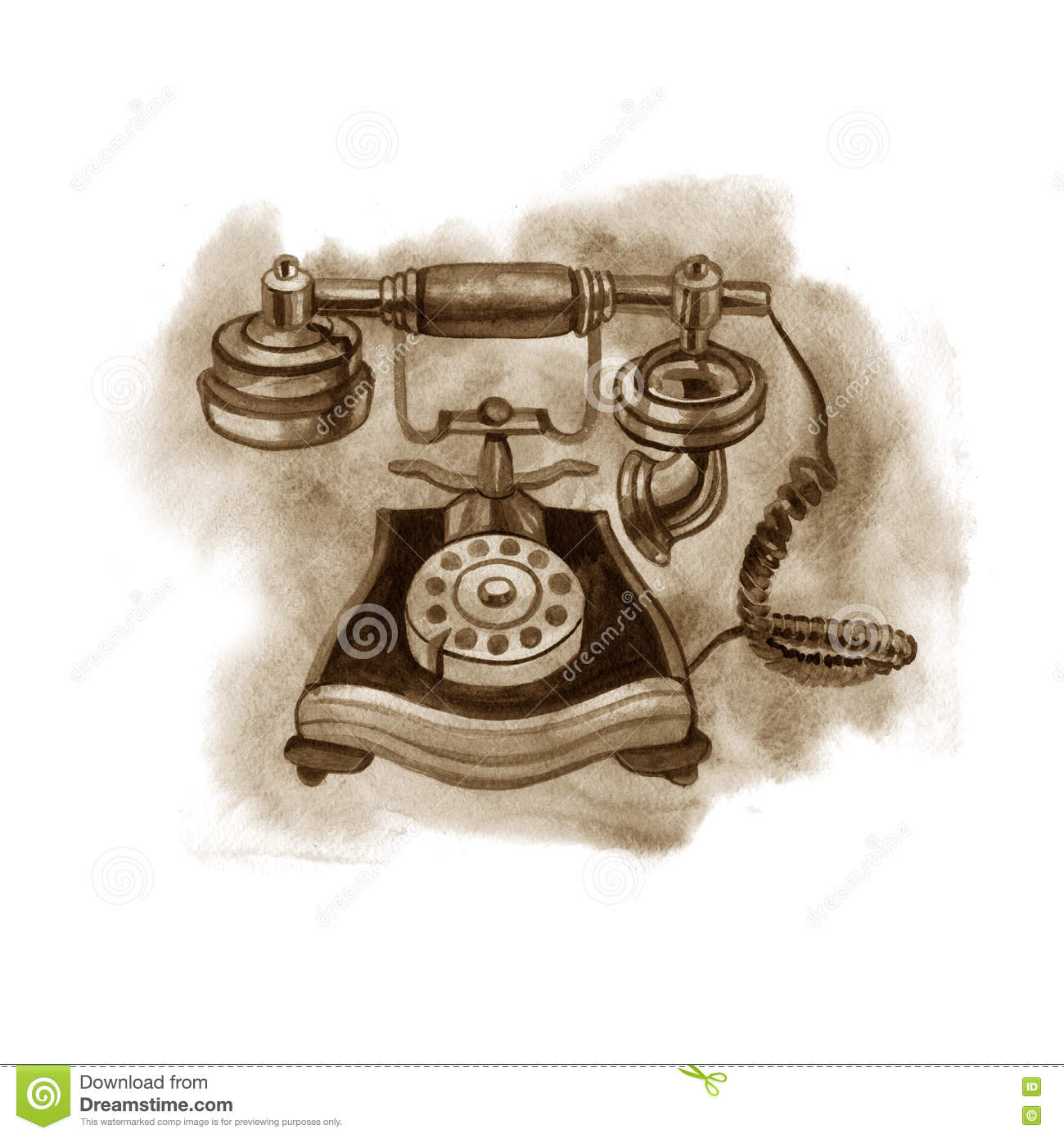 Watercolor Sepia Old Telephone  Illustration On White Stock