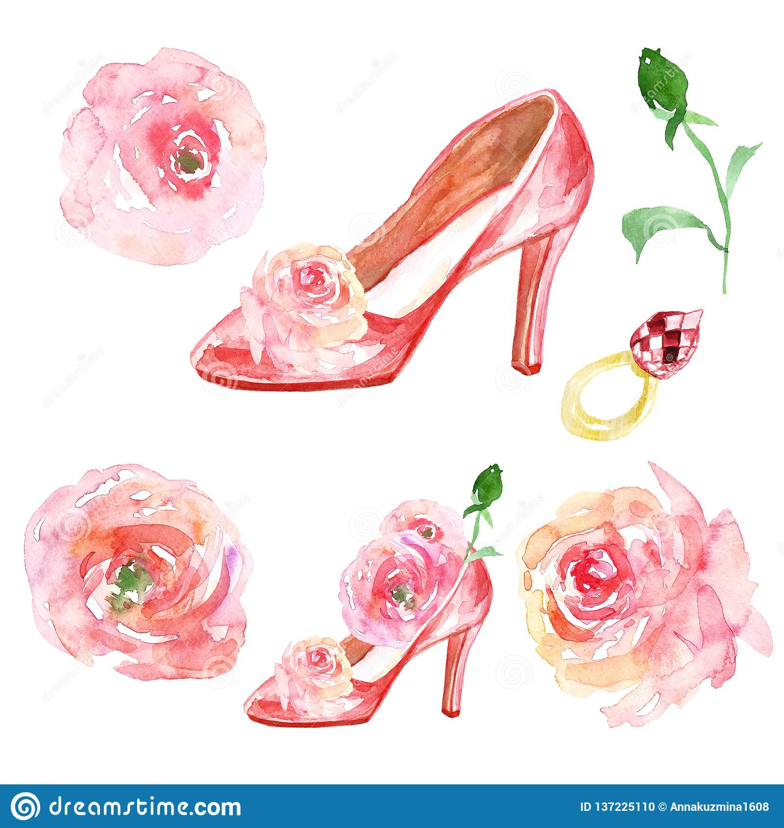Valentines Day Watercolor Set With Pink Ladies Shoes High Heels