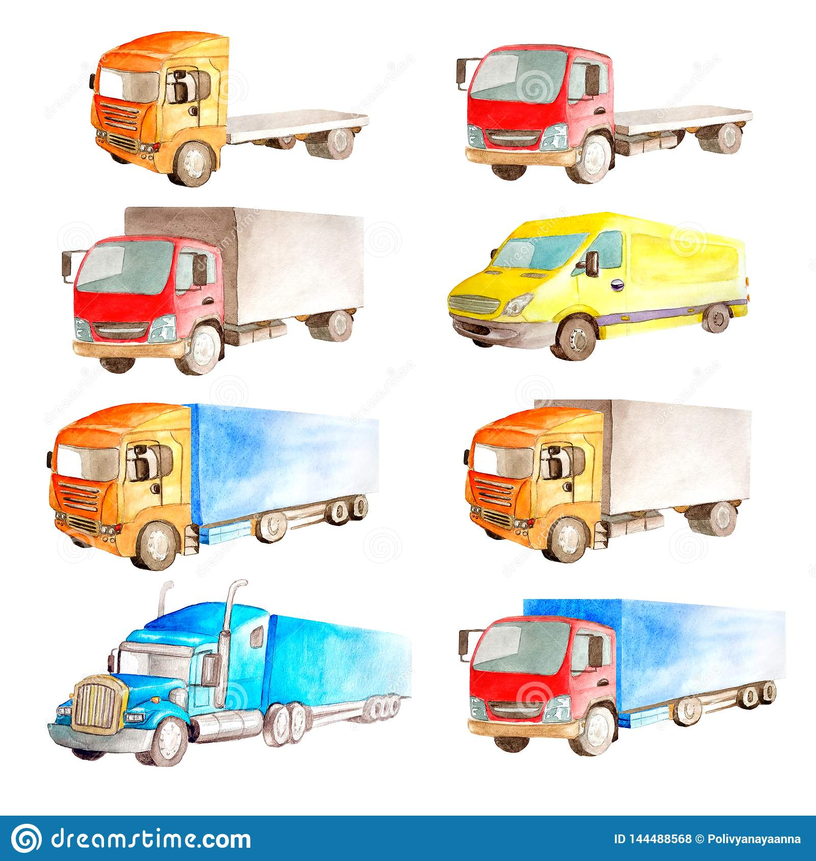 Watercolor set collection of vehicles  trucks, lorries, vans in different colors, type and classification in white background
