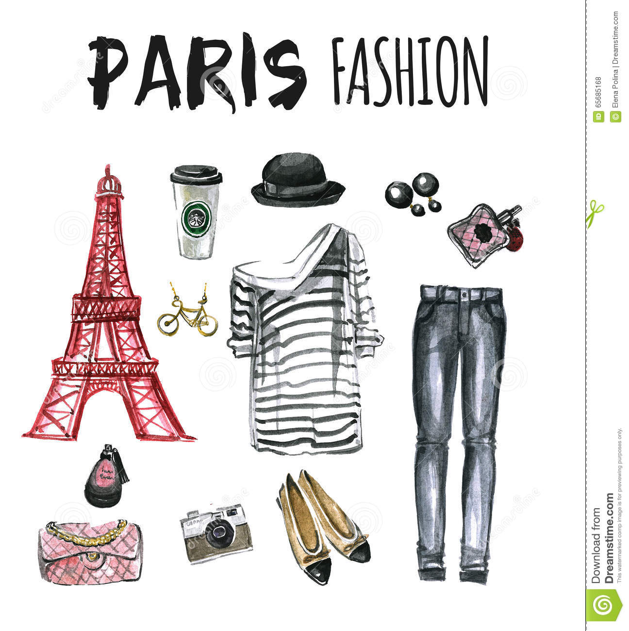Watercolor Set Of Fashion Icons Paris Stock Illustration Image 65685168