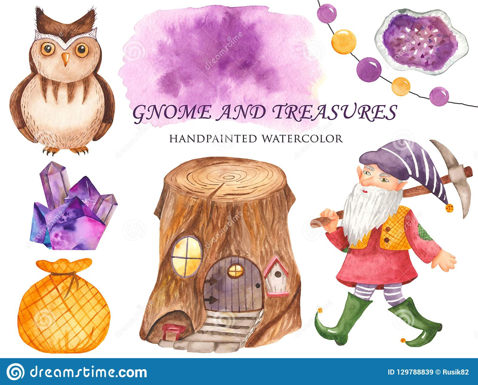 Watercolor set of gnome, owls, stump houses, crystals, a bag of treasure.