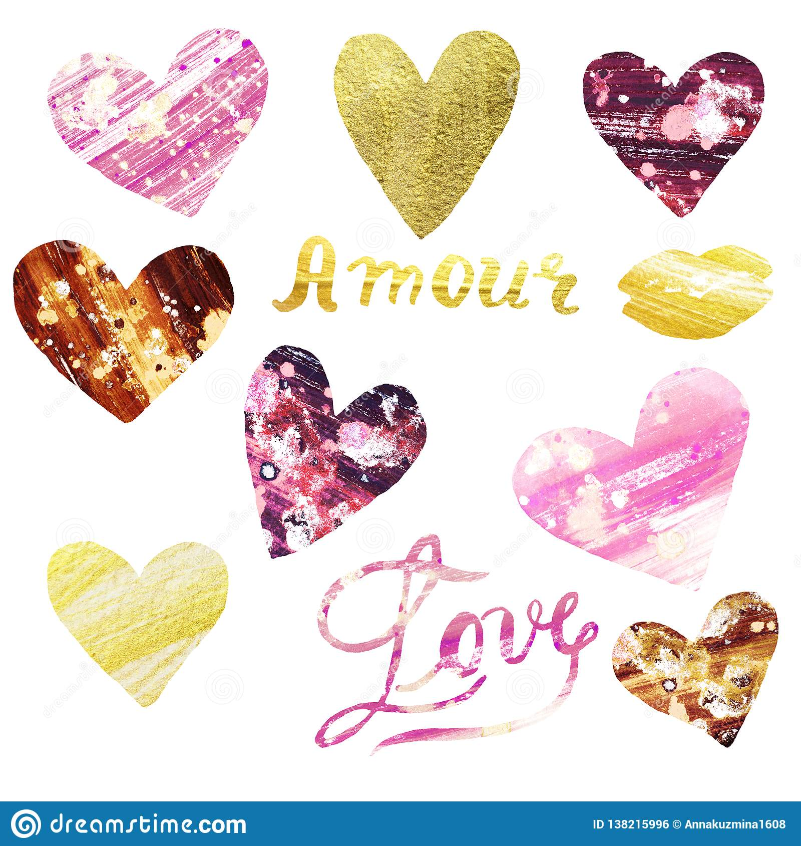 Watercolor set of hand painted shiny pink and gold hearts. Illustration of Love symbols for Valentines day