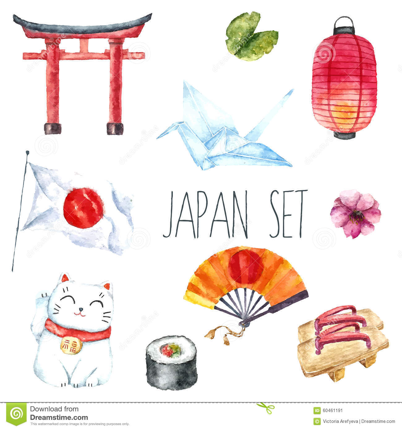 Watercolor Set Of Japan Stock Il Ration