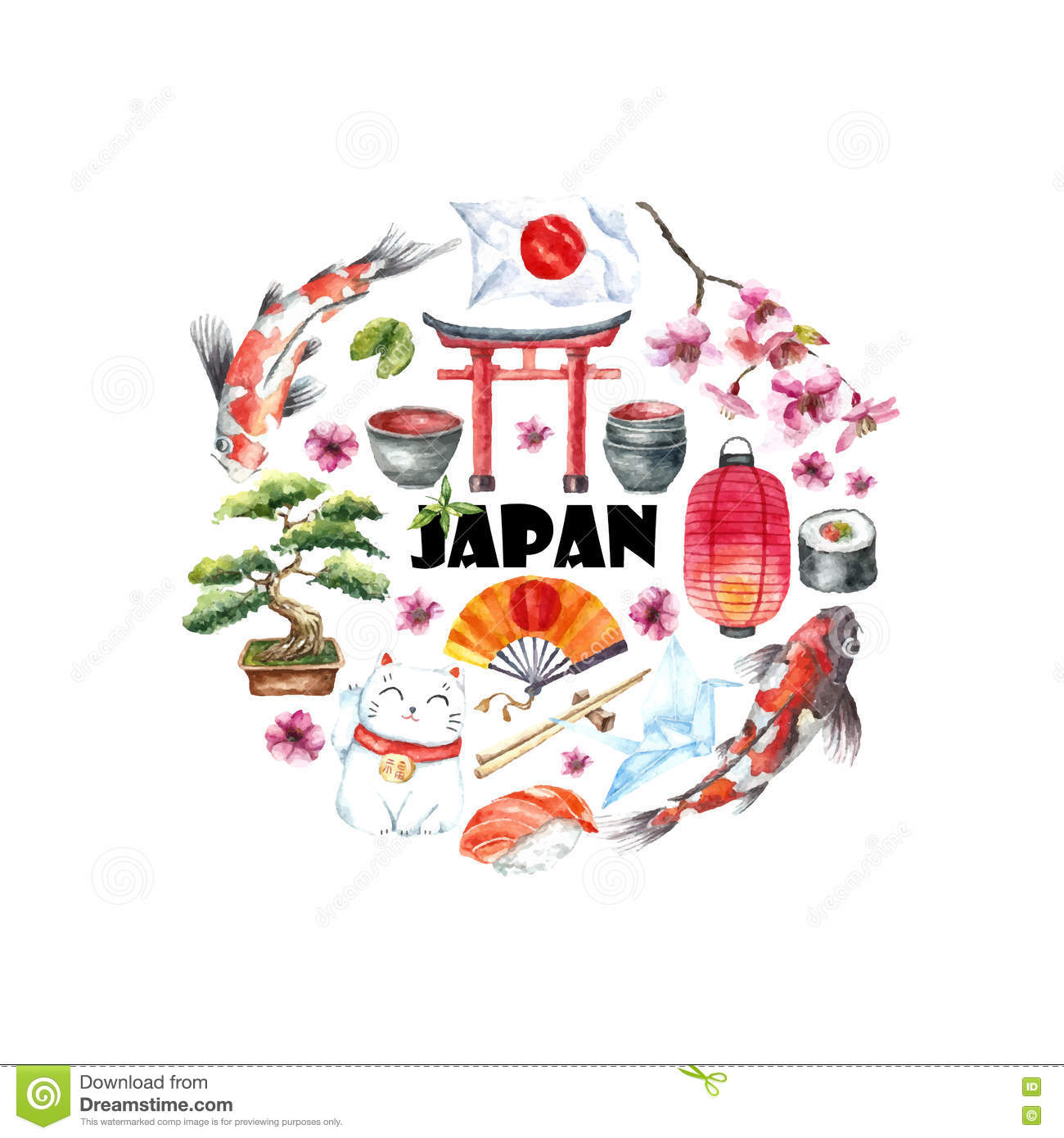 Watercolor Set Of Japan Stock Vector Illustration Of
