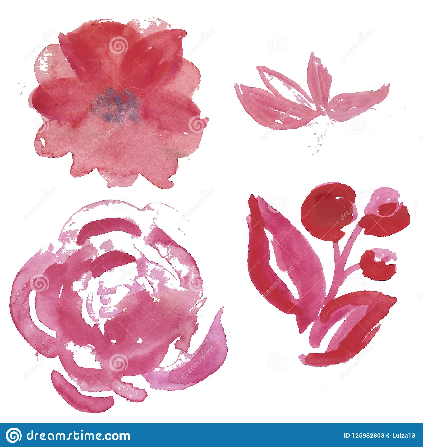 Watercolor Set Of Light Pink And Lilac Garden Flowers Rose Anemona