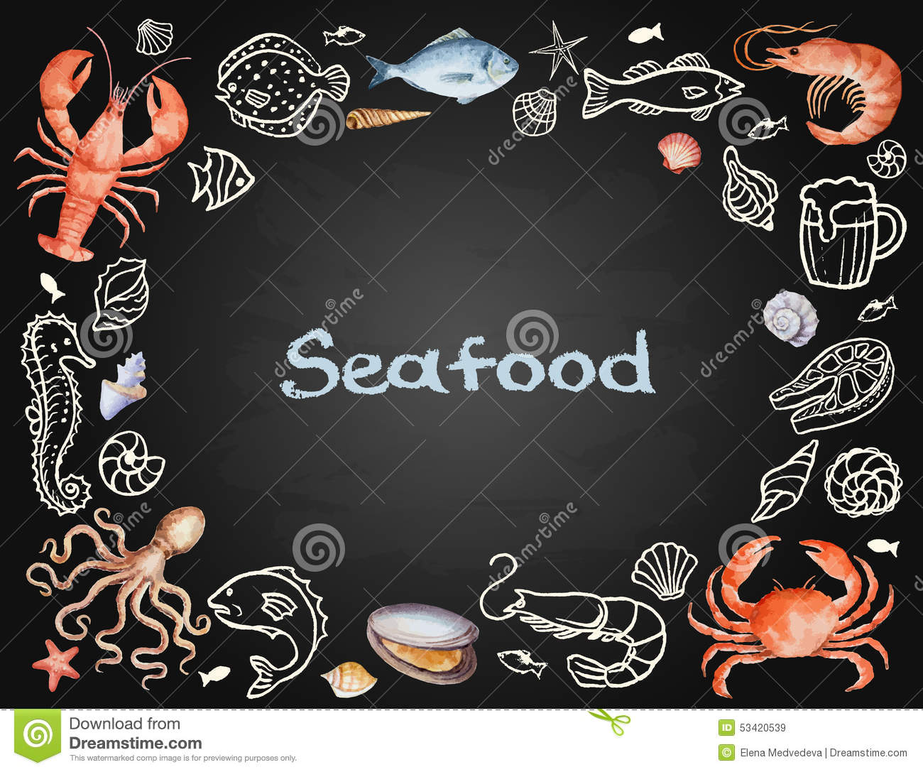Watercolor set of seafood stock vector. Image of flyer - 53420539